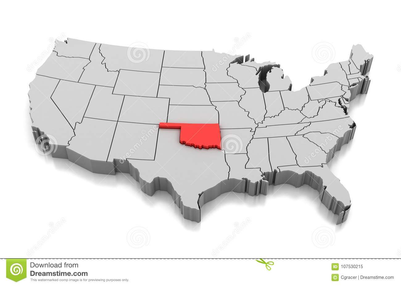 State Map Oklahoma.Map Of Oklahoma State Usa Stock Illustration Illustration Of Shape
