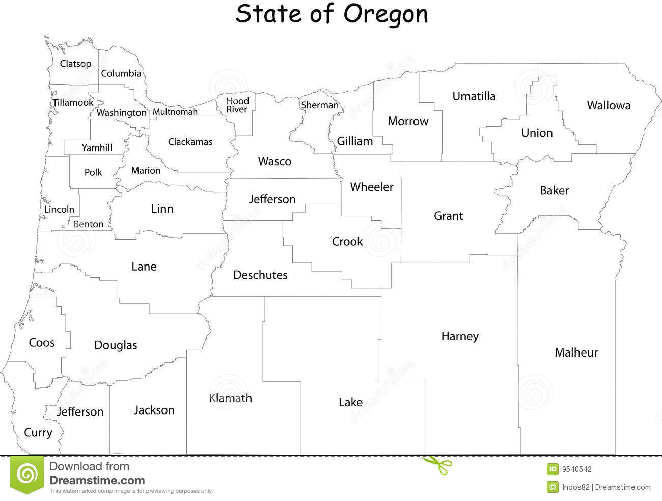 Oregon State Map With Counties.Map Of Oregon State Stock Vector Illustration Of Clackamas 9540542