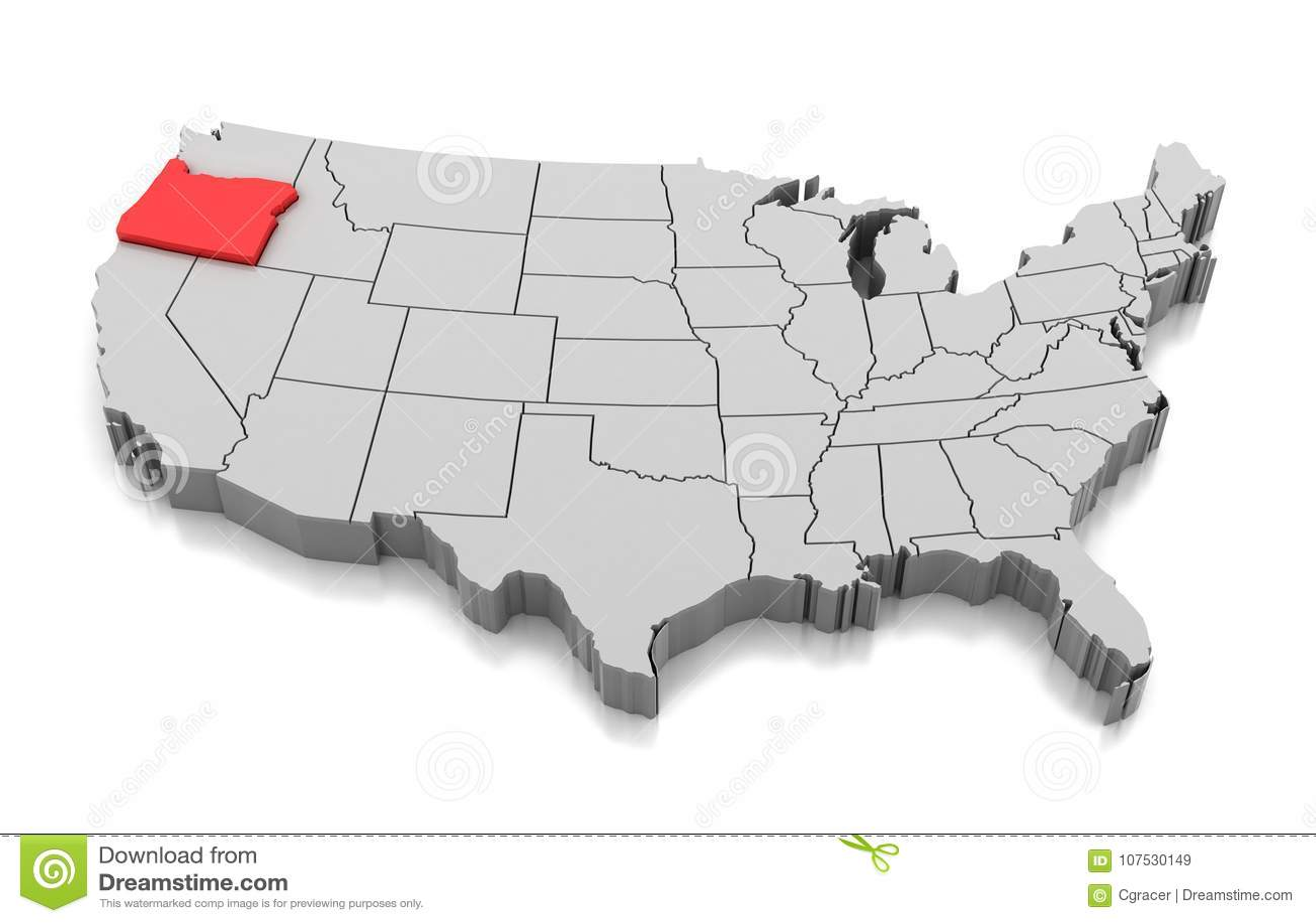 Map of Oregon state, USA stock illustration. Illustration of ...