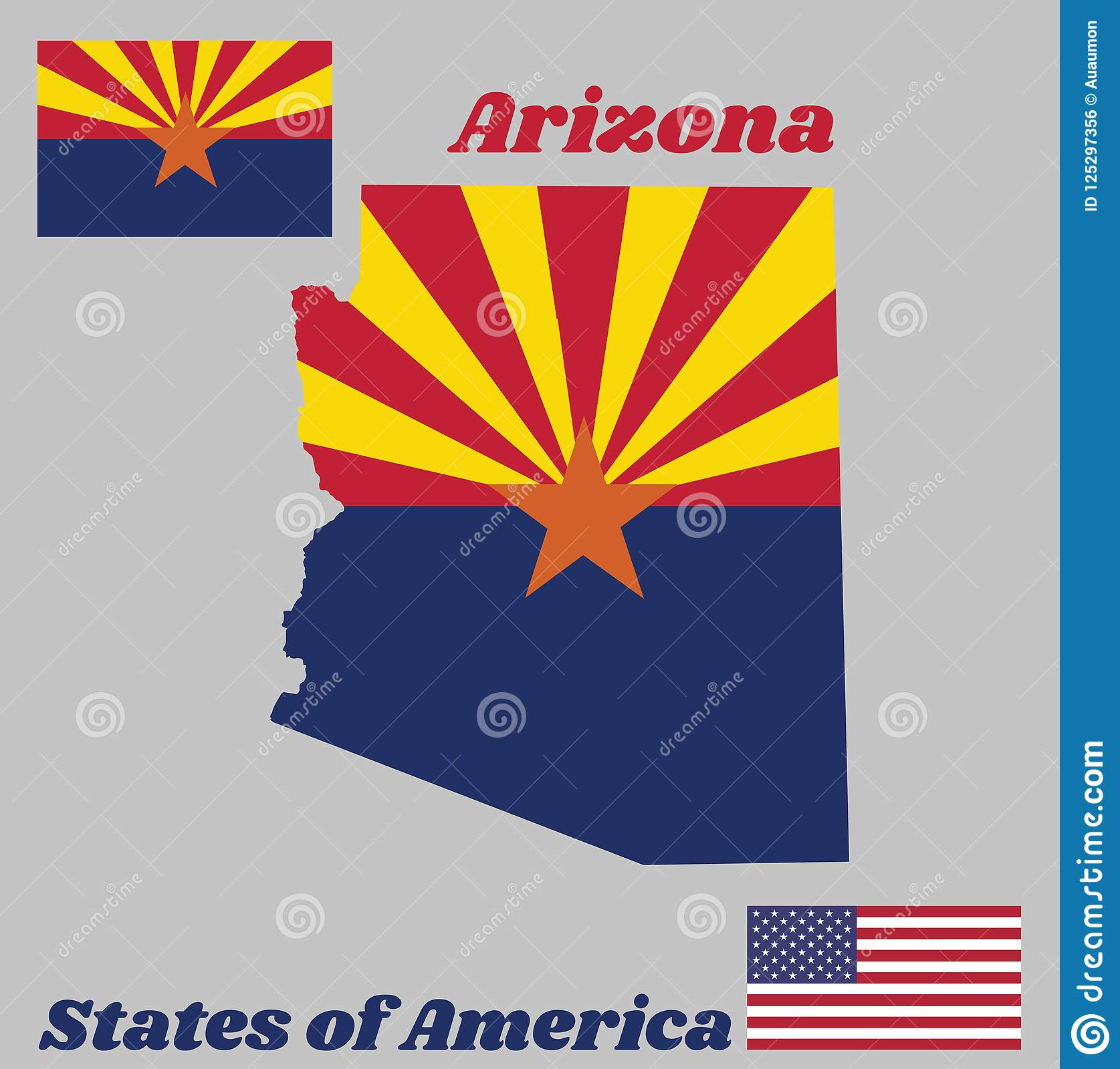 Map Outline And Flag Of Arizona Red And Weld Yellow On The Top Half