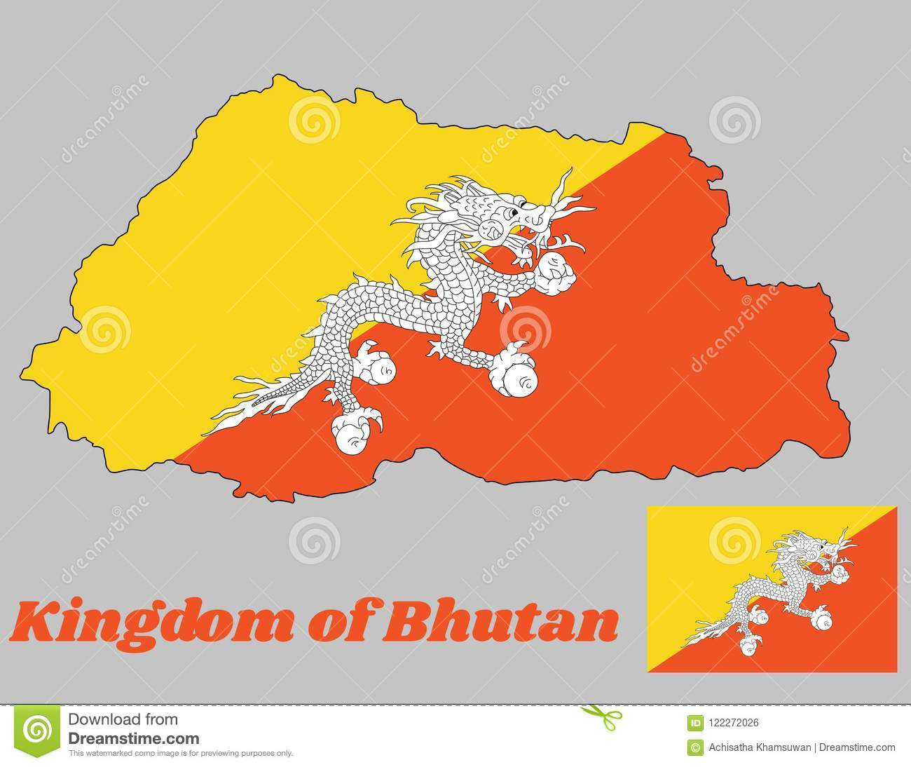 Map Outline And Flag Of Bhutan, Triangle Yellow And Orange