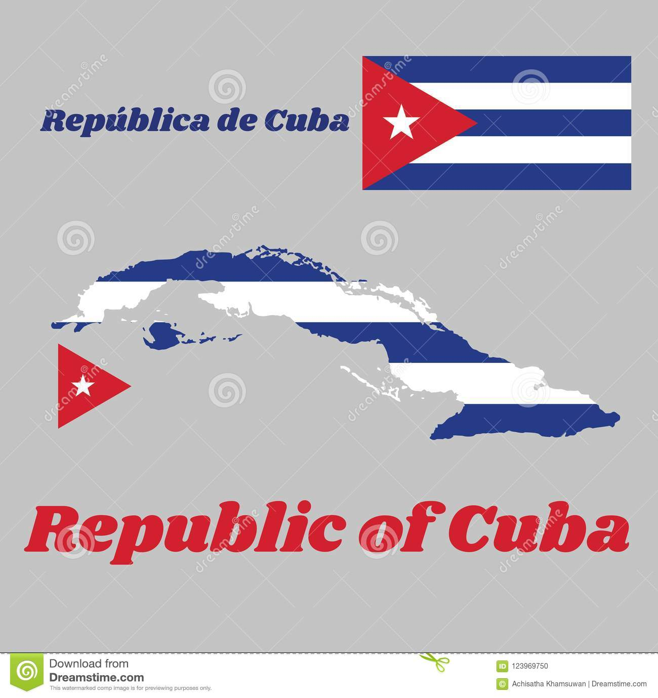Map Outline And Flag Of Cuba Five Horizontal Stripes Of Blue And