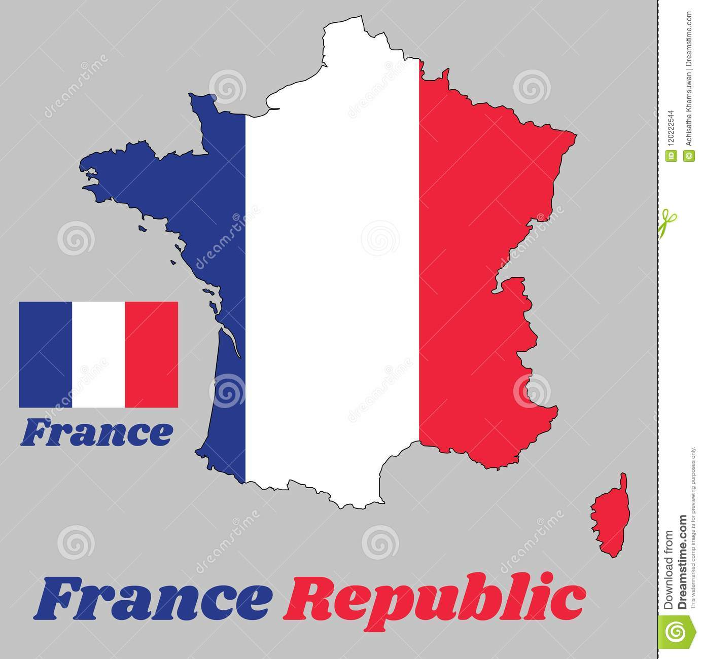 Map Outline And Flag Of France It Is A Vertical Tricolor Of Blue
