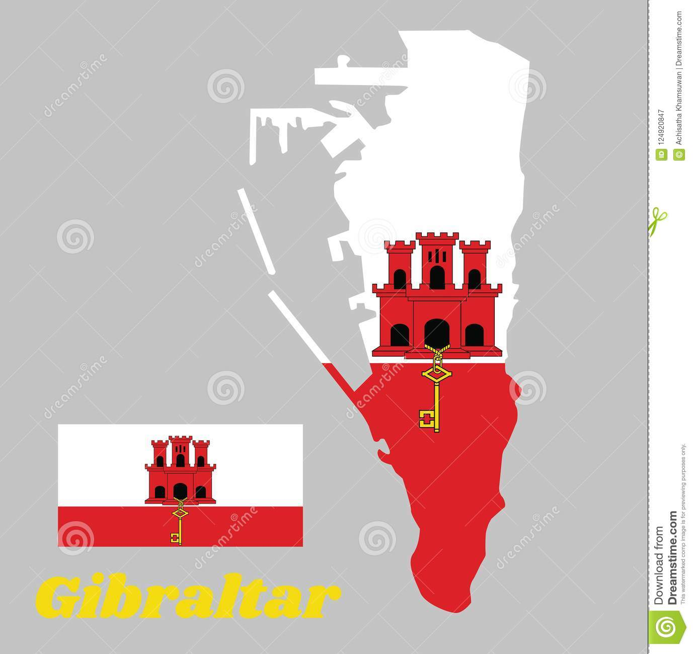 Map Outline And Flag Of Gibraltar  White With A Red Stripe With