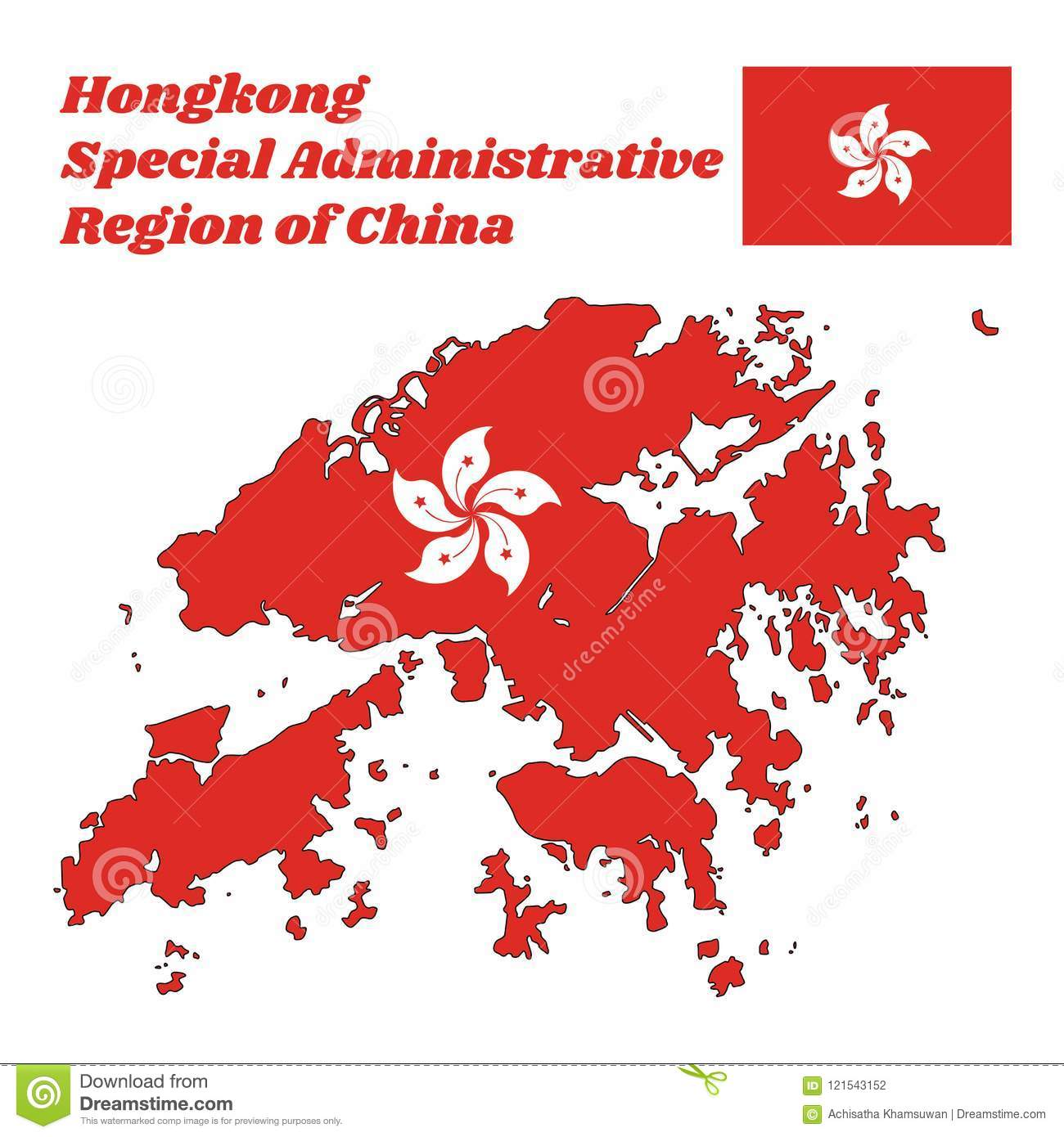 Map outline and flag of hongkong a stylised white five petal map outline and flag of hongkong a stylised white five petal bauhinia mightylinksfo