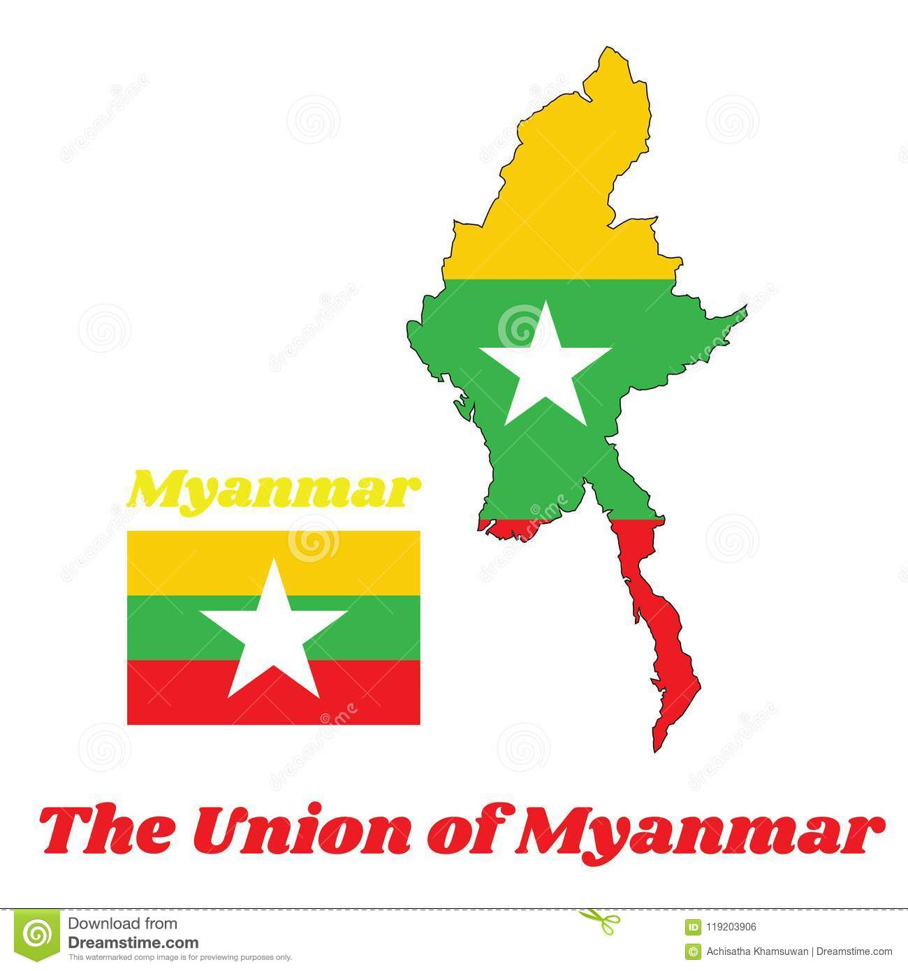 Map Outline And Flag Of Myanmarese In Red Green And Yellow Color And ...