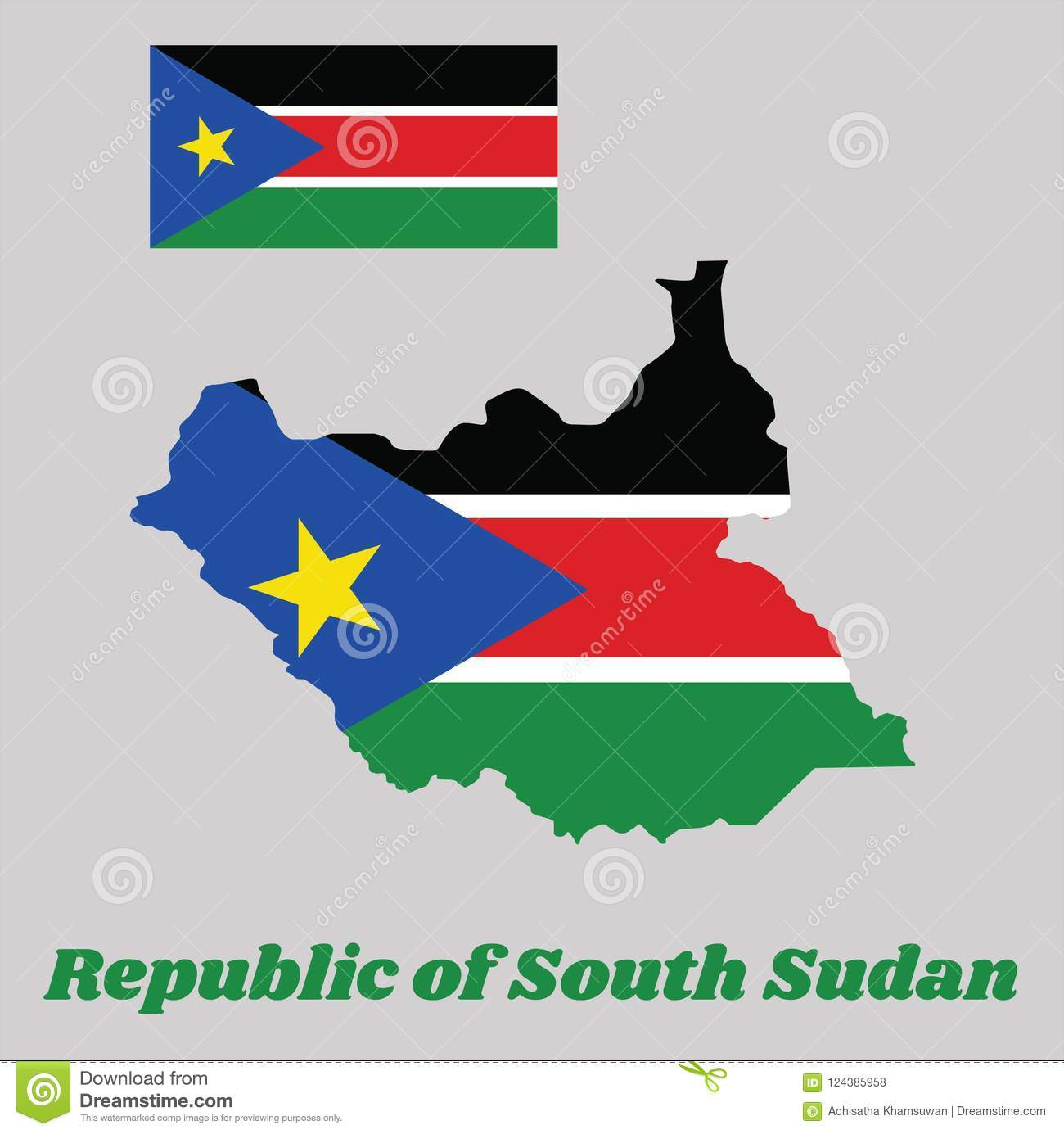 Map Outline And Flag Of South Sudan A Horizontal Tricolor Of Black