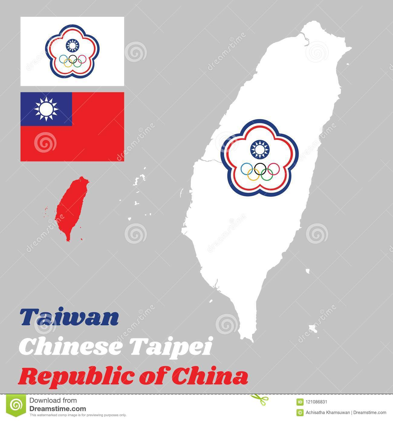 Taiwan China Map.Map Outline Of Taiwan Or Chinese Taipei The Chinese Taipei Olympic
