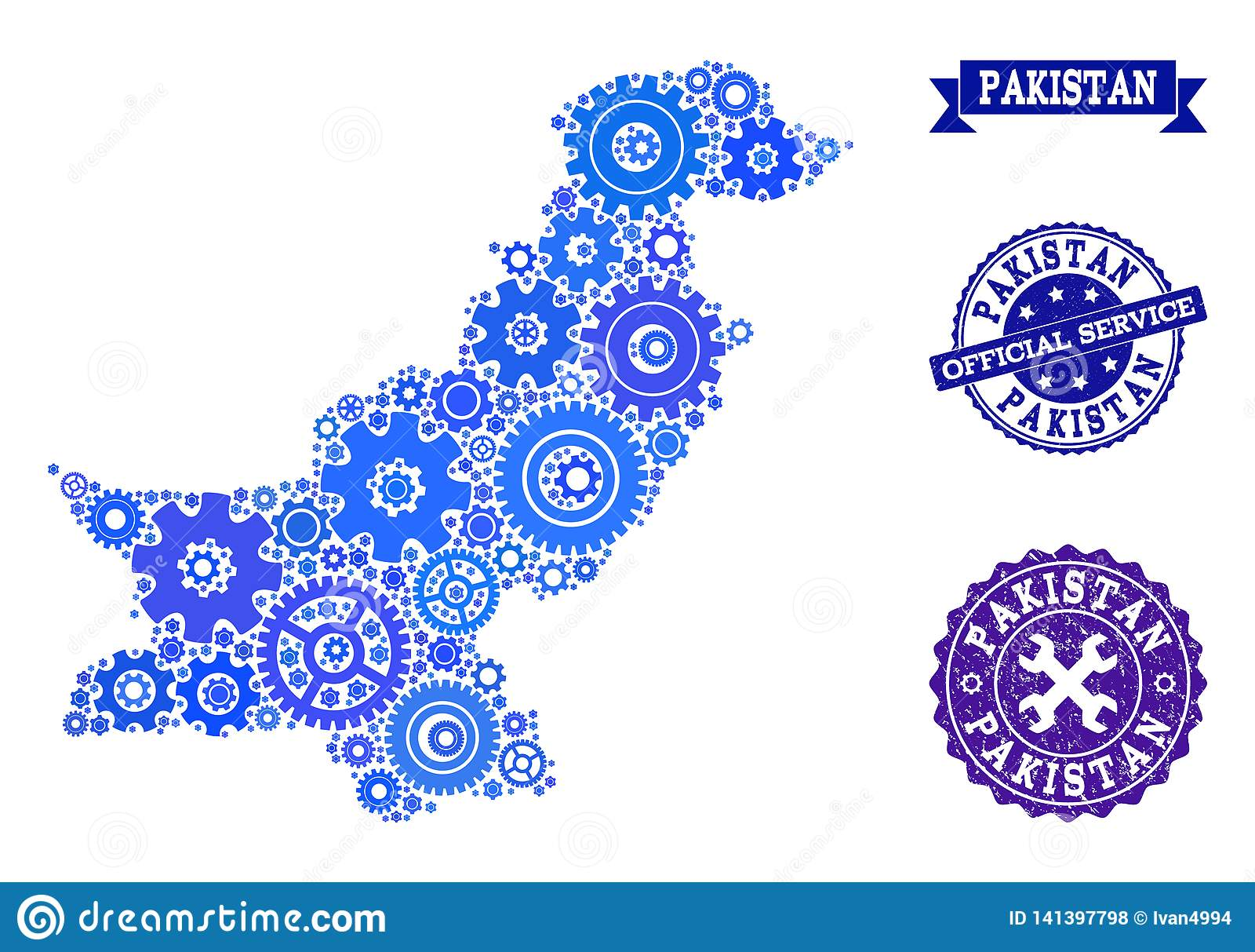 Collage Map Of Pakistan With Gear Wheels And Rubber Seals