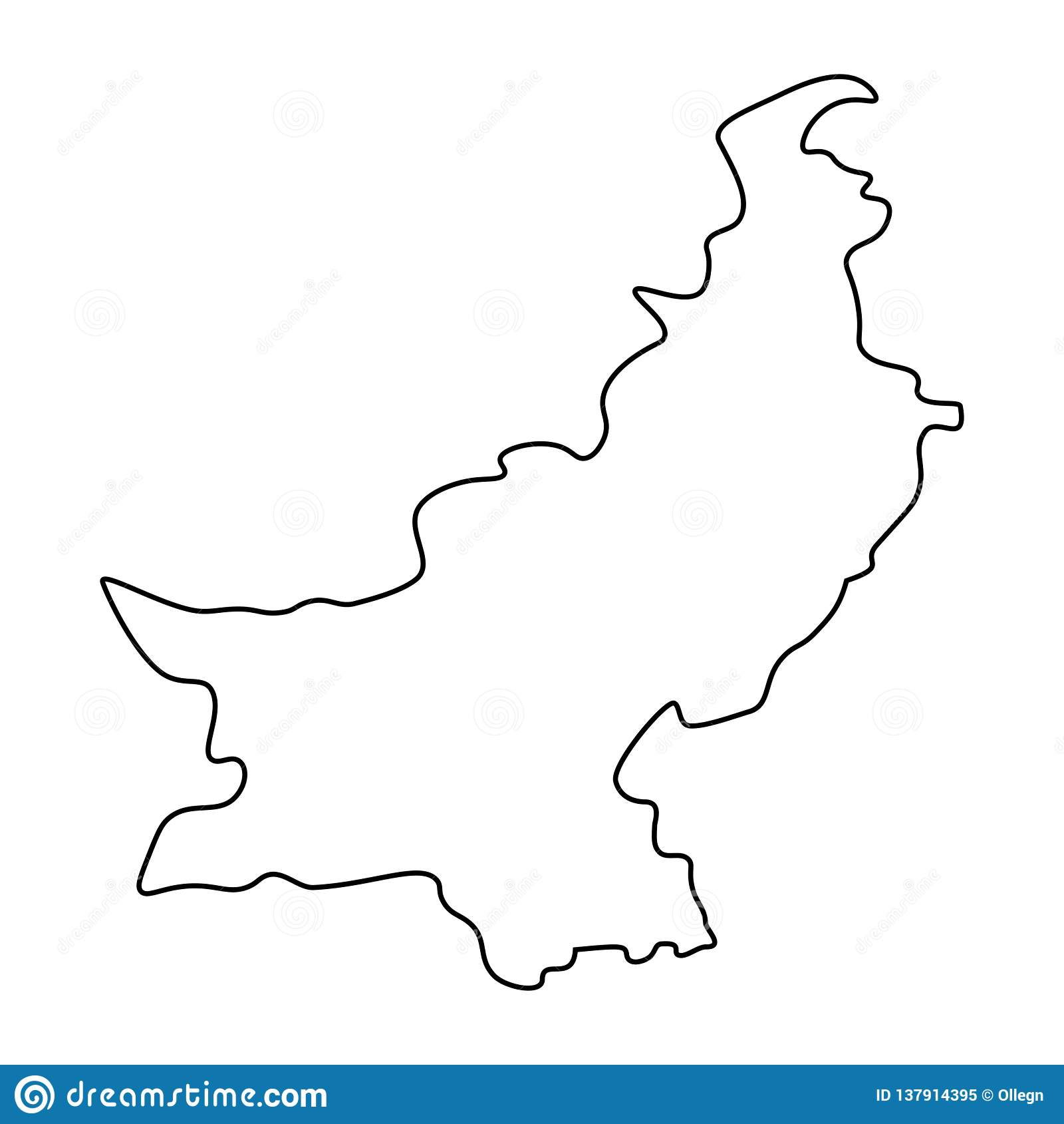 Map of Pakistan - outline stock illustration  Illustration