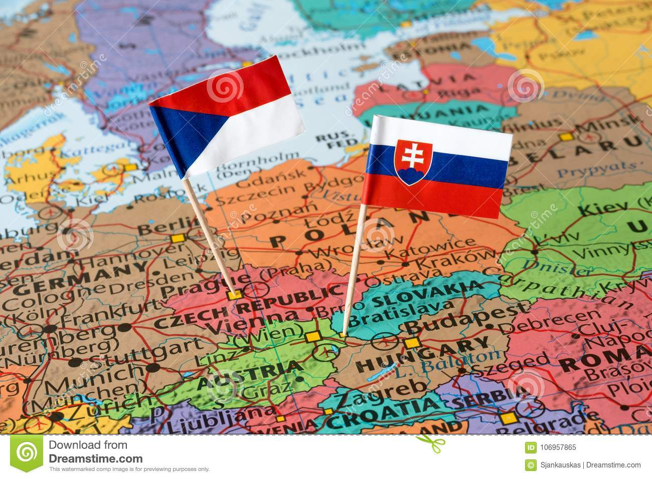 Map and paper flags of Slovakia and Czech Republic