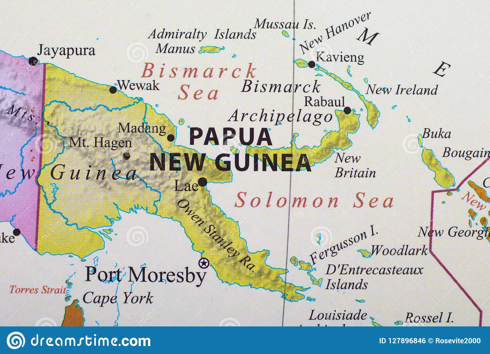 Map of Papua New Guinea stock photo. Image of encompasses ...