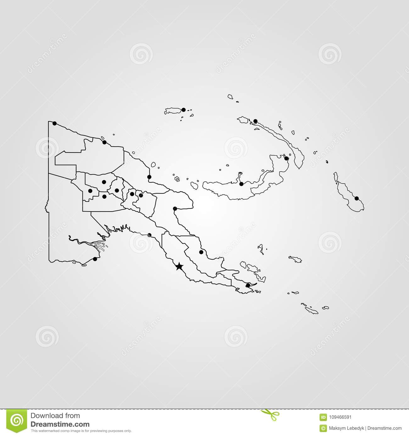 Map of Papua New Guinea stock illustration. Illustration of oceania ...