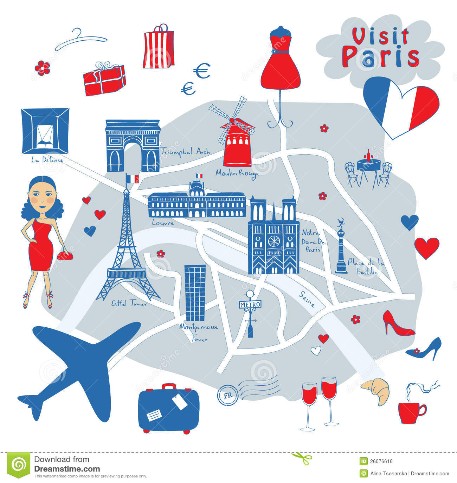 Map Of Paris Royalty Free Stock Image Image 26076616