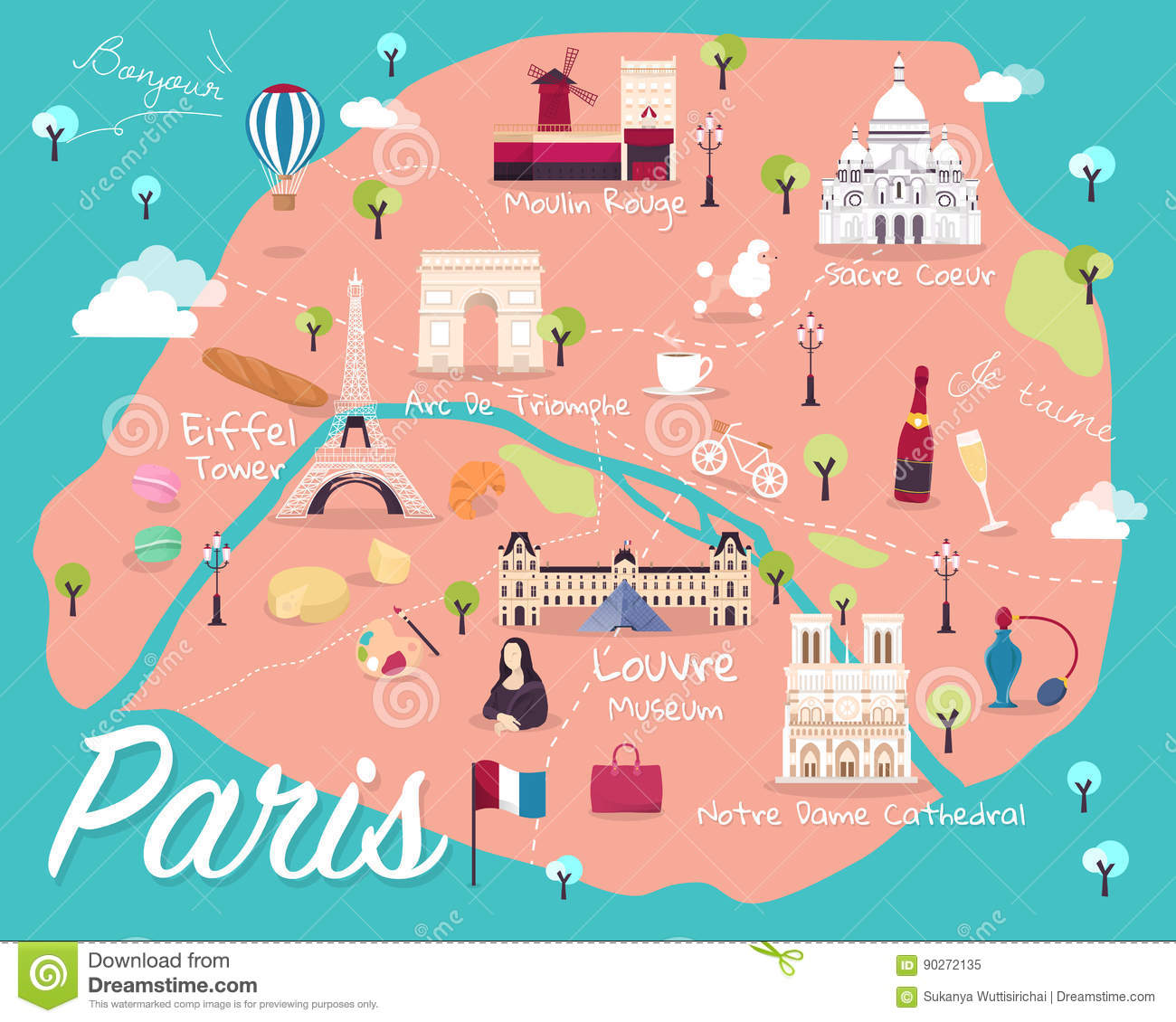 Favorit Map Of Paris Attractions Vector And Illustration. Stock Vector  WE74