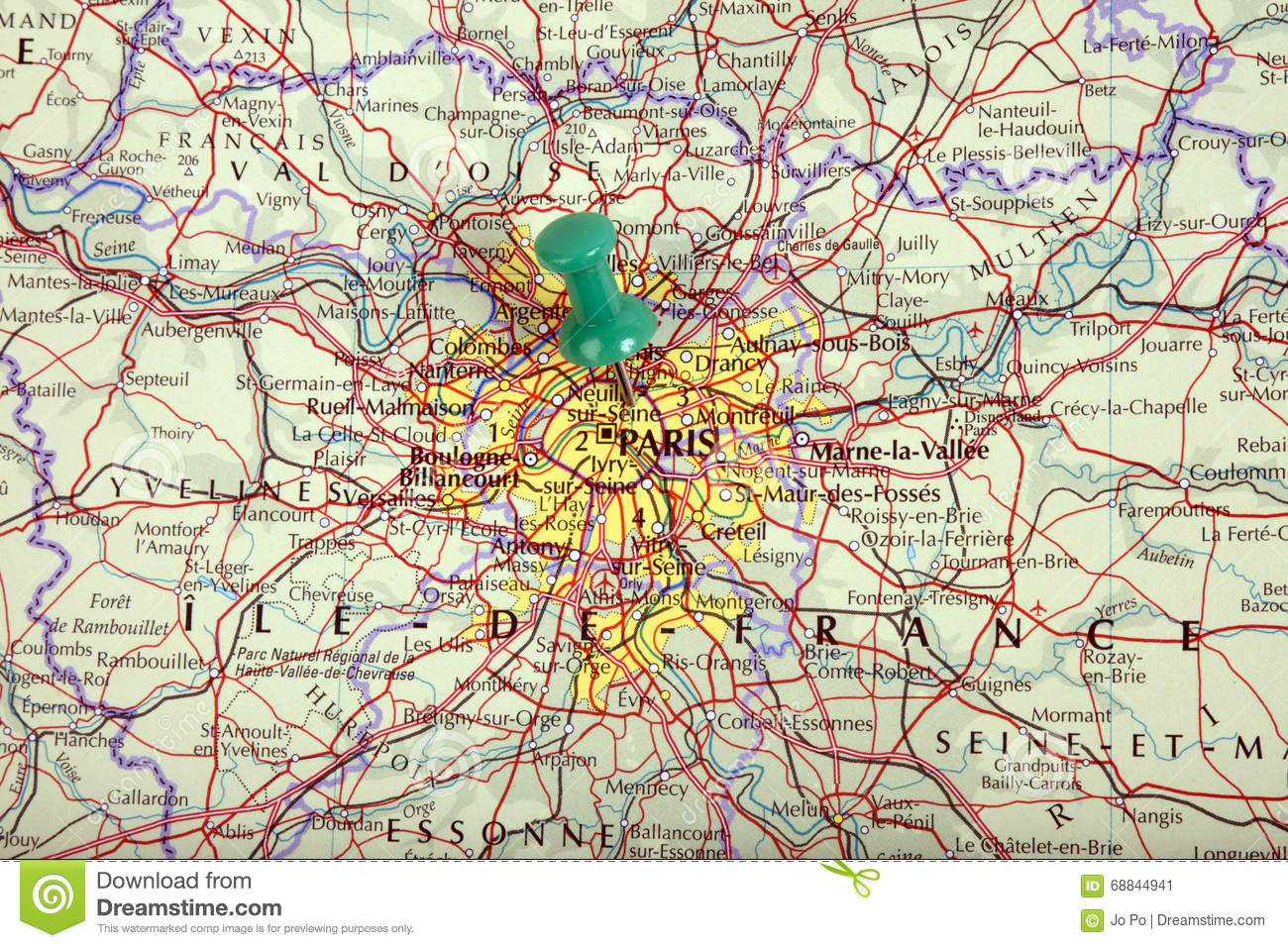 Map Of Paris With Pushpin Stock Image Image Of Country - Paris map 2016