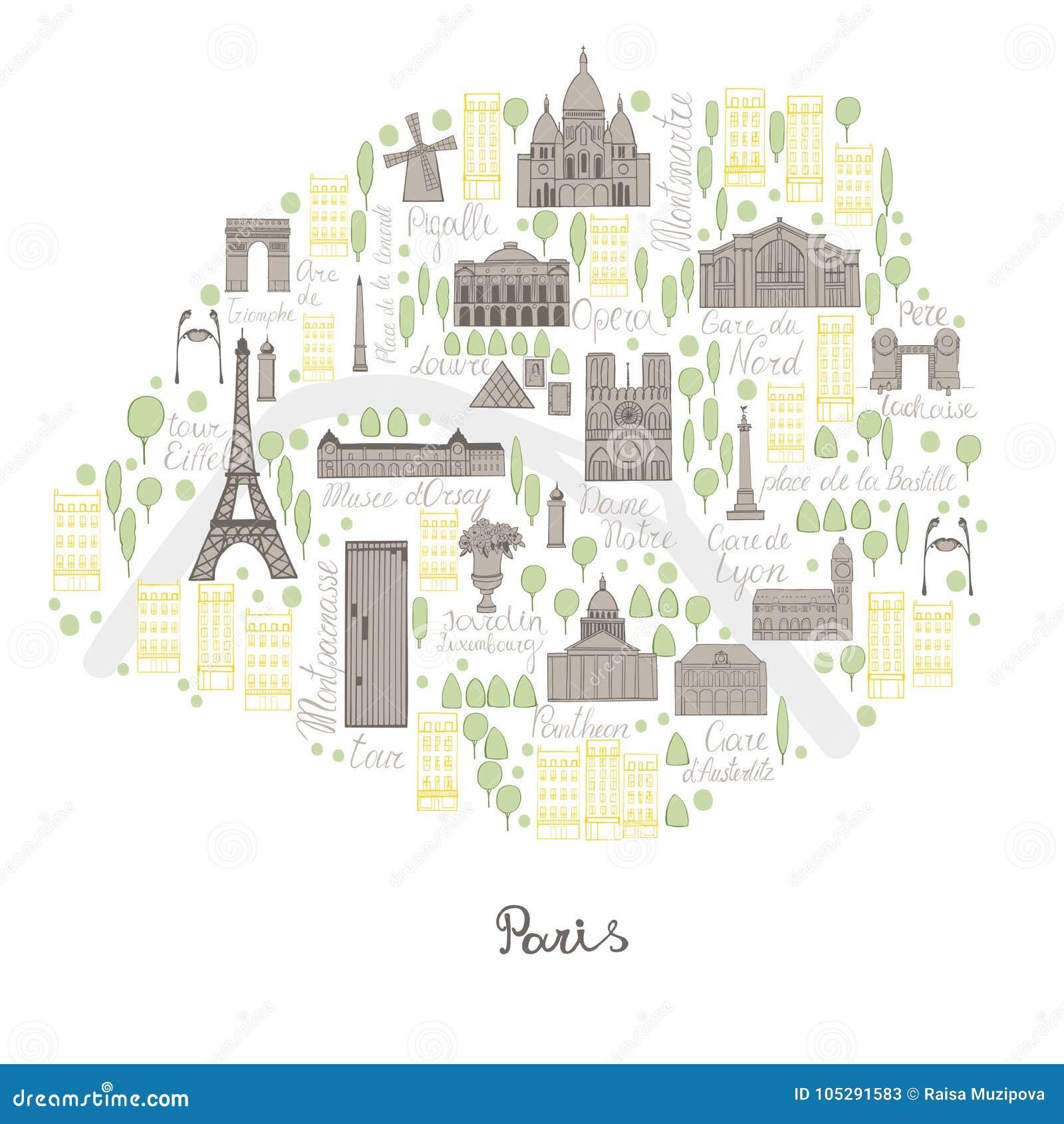 Map Of Paris. Vector Sketch Illustration Stock Vector ...