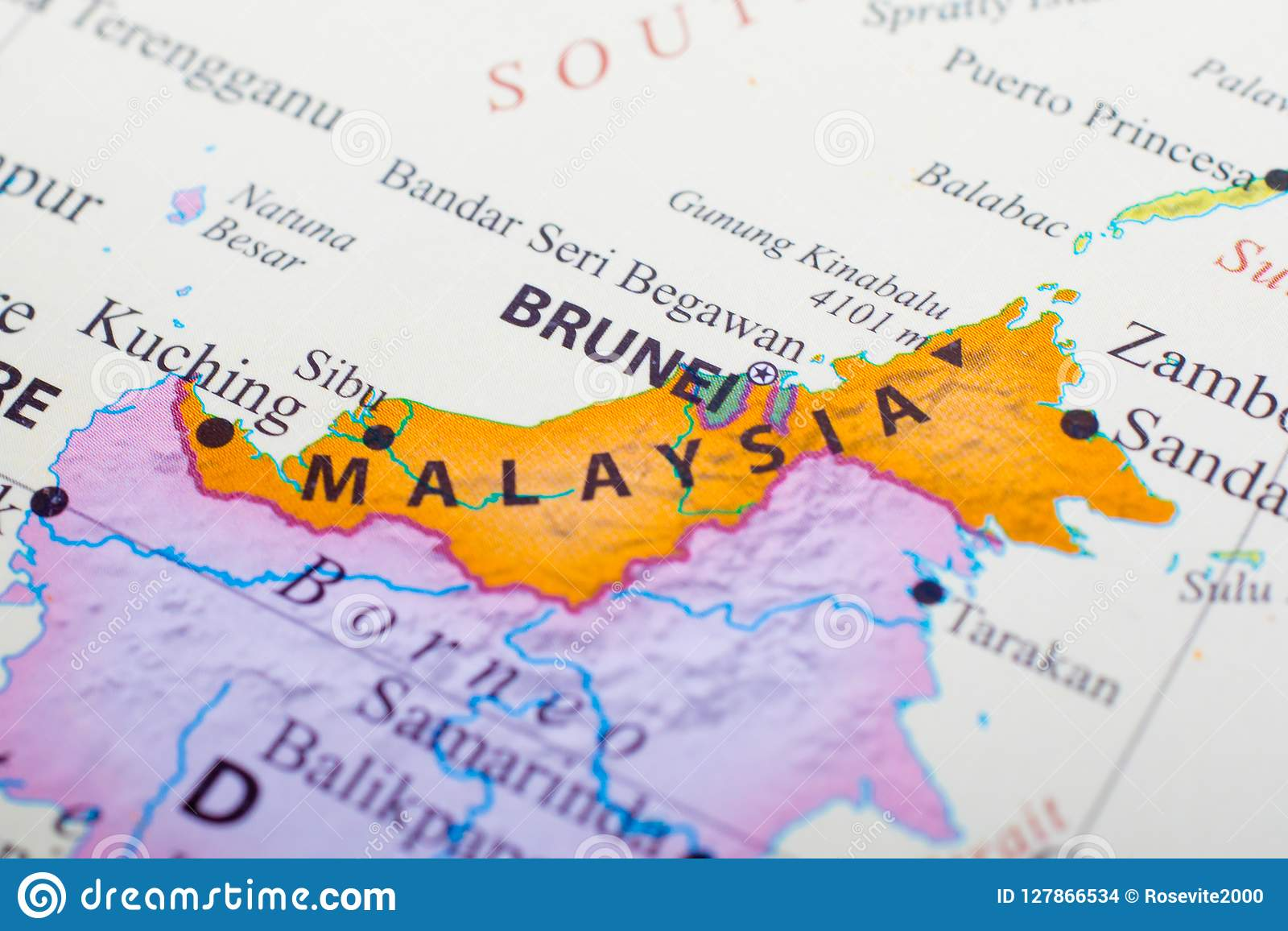 Map Of Asia Brunei.Map Of Part Of Malaysia Beside Brunei Stock Photo Image Of Colombo