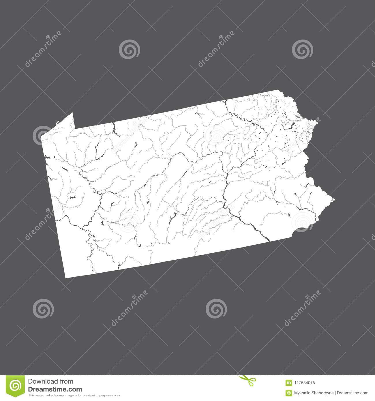 Map Of Pennsylvania With Lakes And Rivers Stock Vector - Us-lakes-and-rivers-map