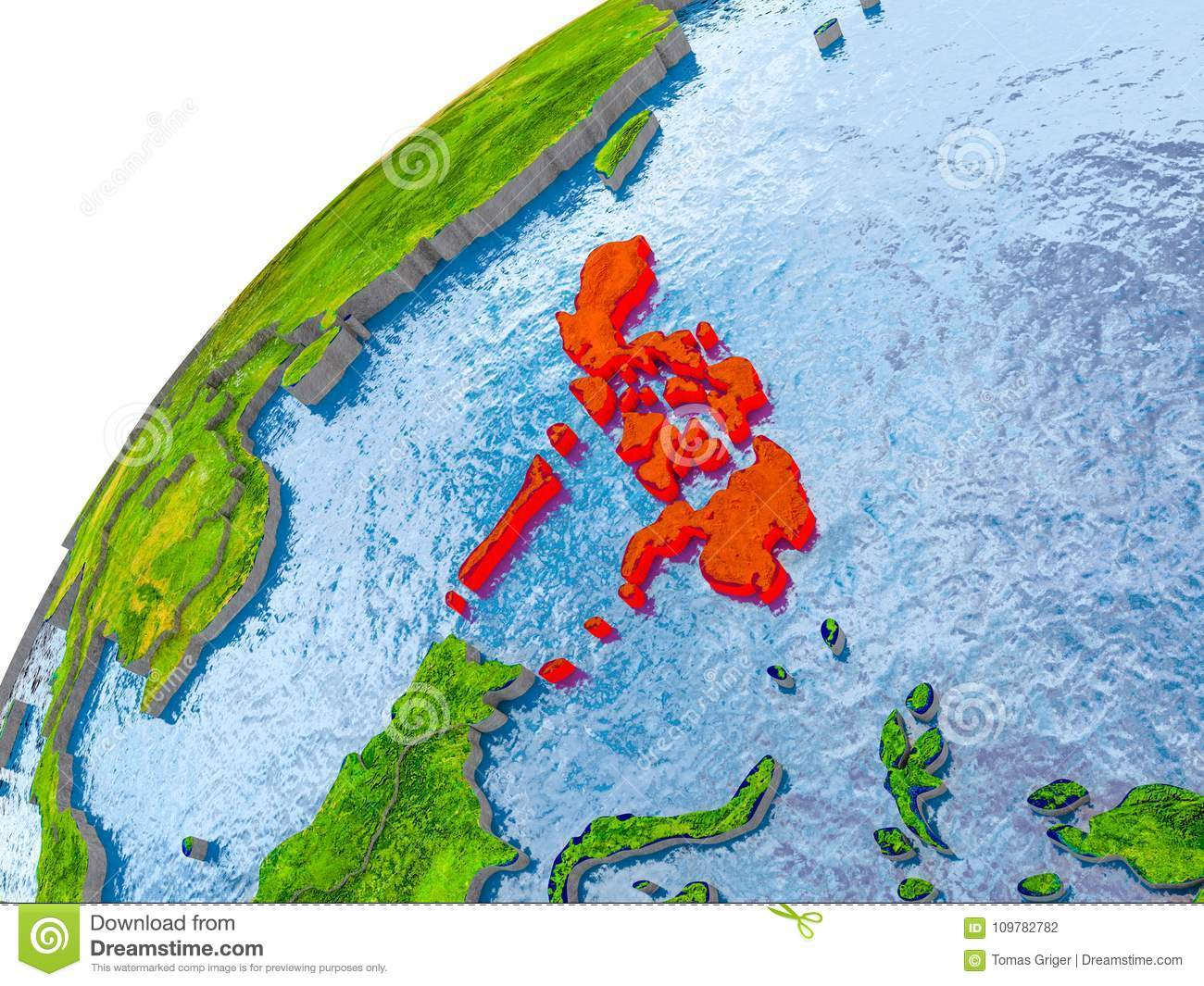 Simple Philippines Map.Map Of Philippines In Red On Globe Stock Illustration Illustration