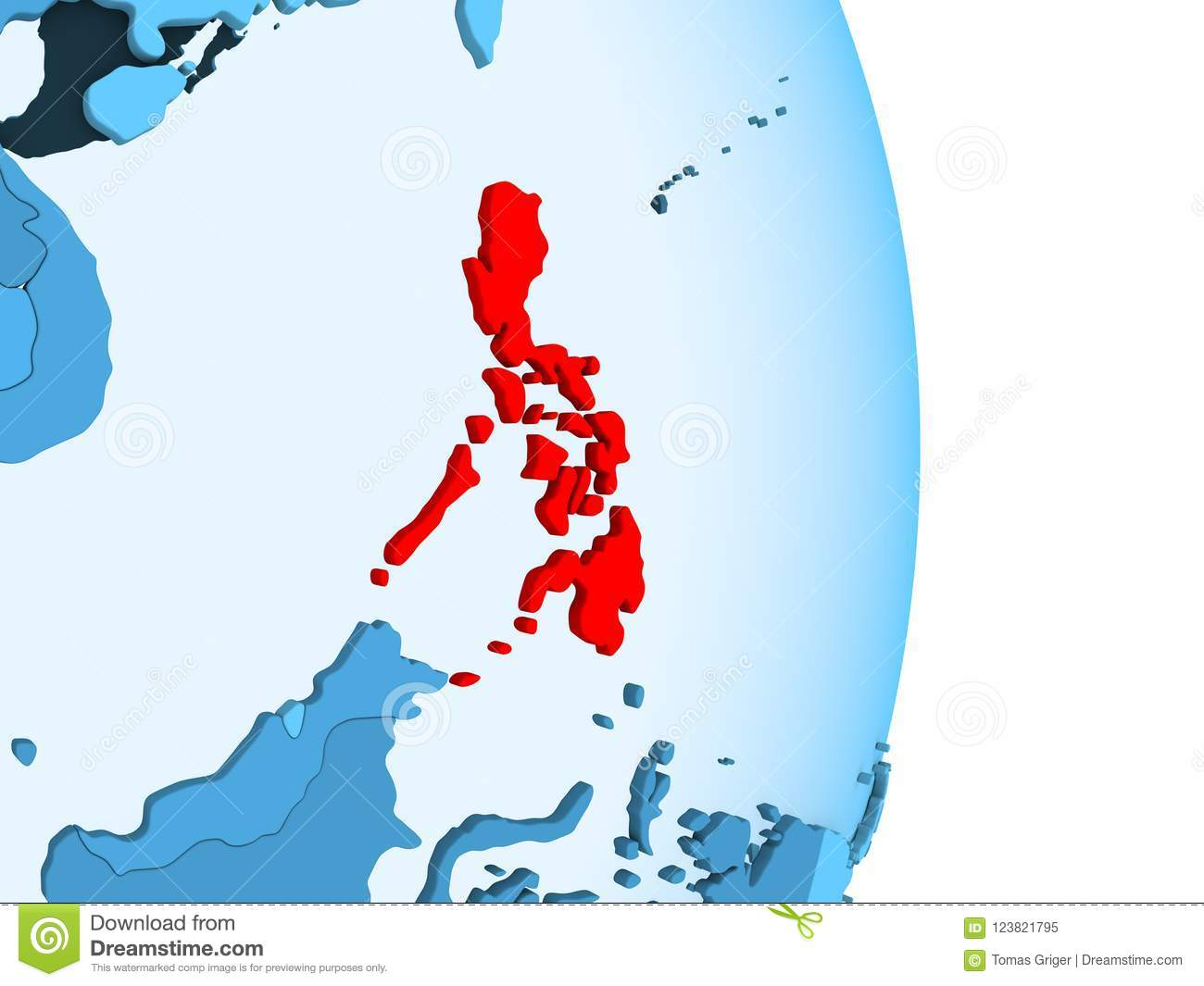 Simple Philippines Map.Map Of Philippines In Red Stock Illustration Illustration Of Globe