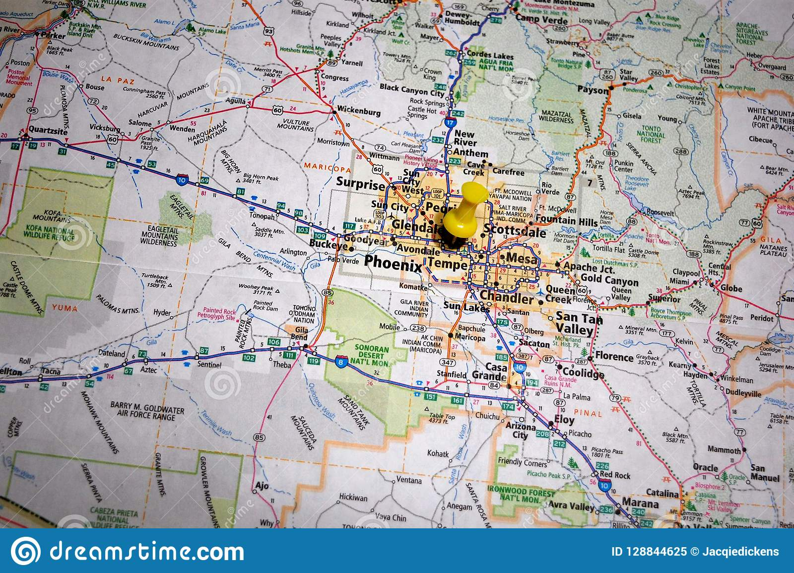 A Map Of Phoenix Arizona.Phoenix Arizona Stock Image Image Of Explore Geography 128844625