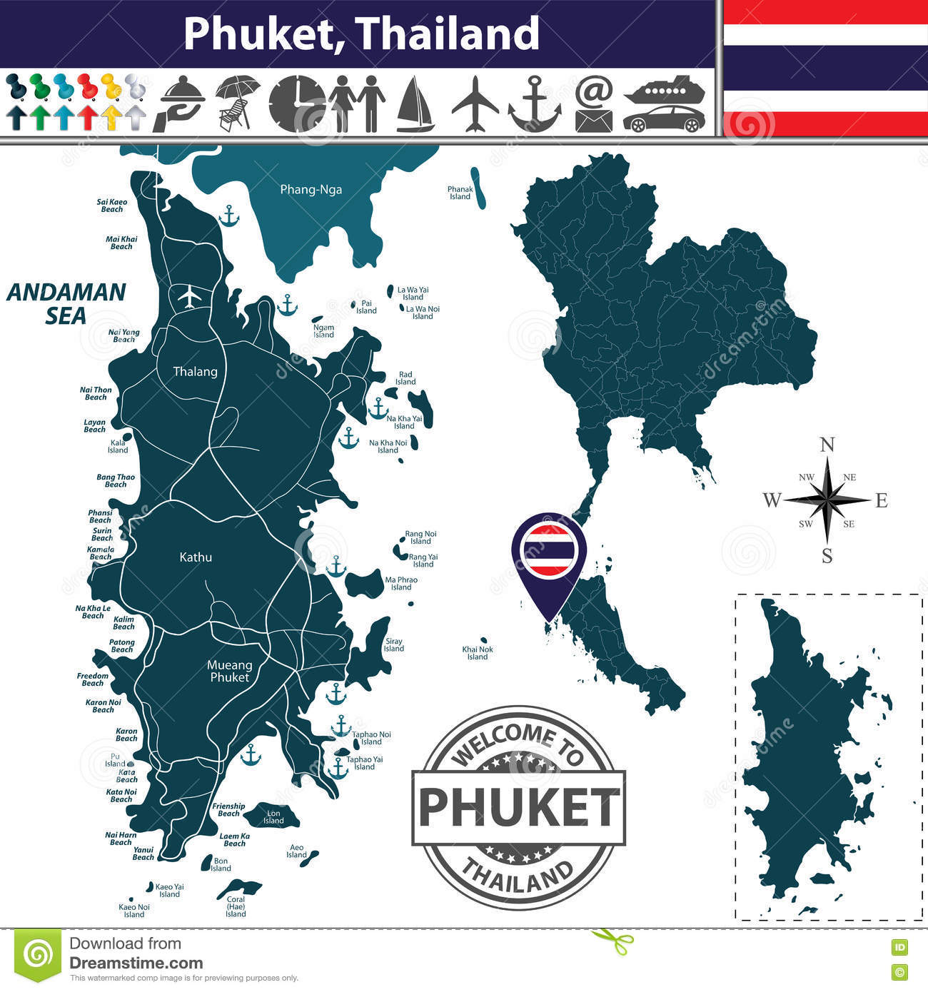 map of phuket province thailand