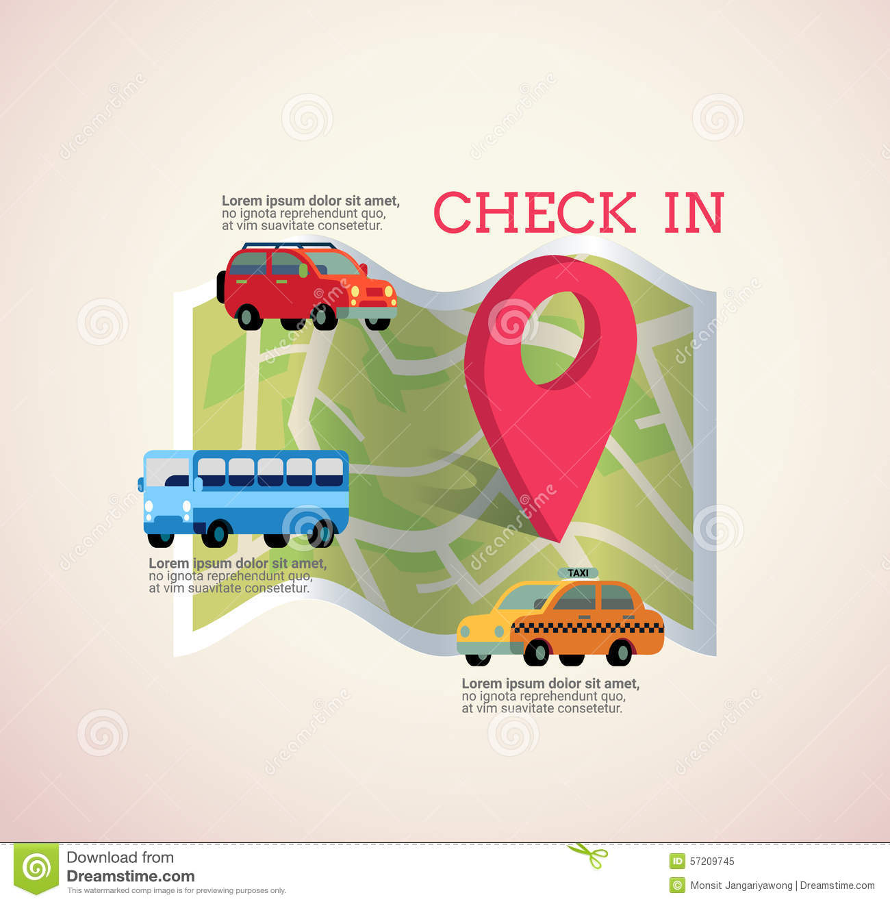 Map With Pin Check In Icon Vector Illustration Royalty Free Stock Photo