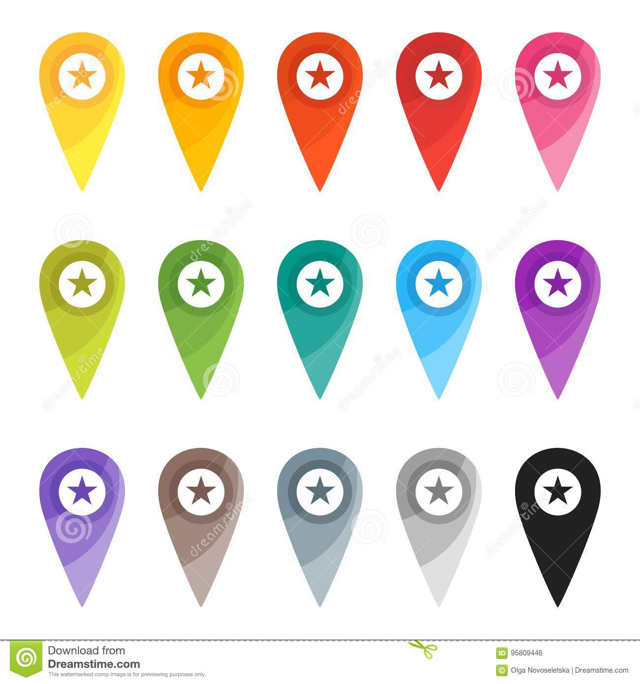 Map pin color sign stock vector. Illustration of button   10