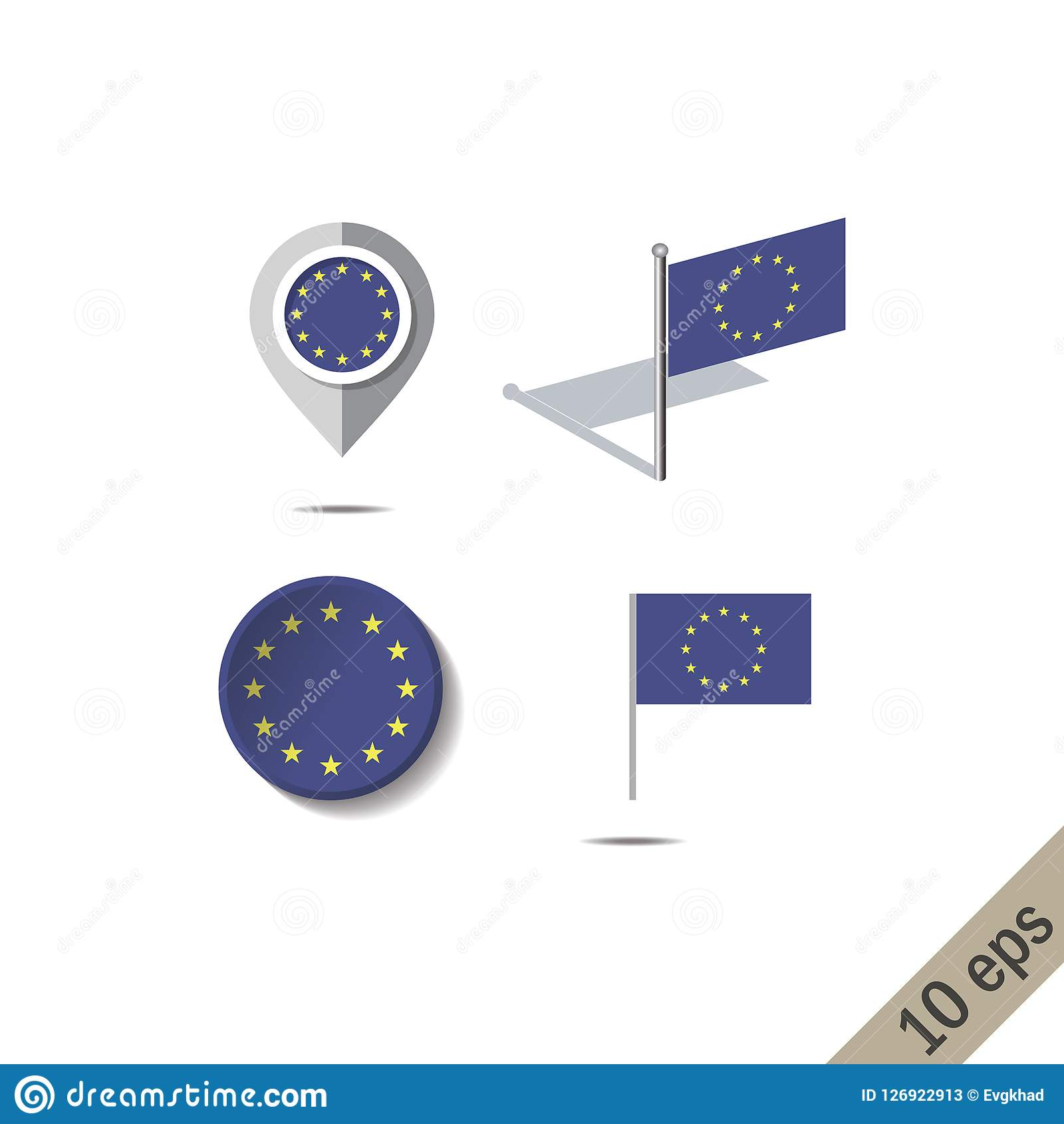 Map pins with flag of European Union. Vector illustration Vector Illustration