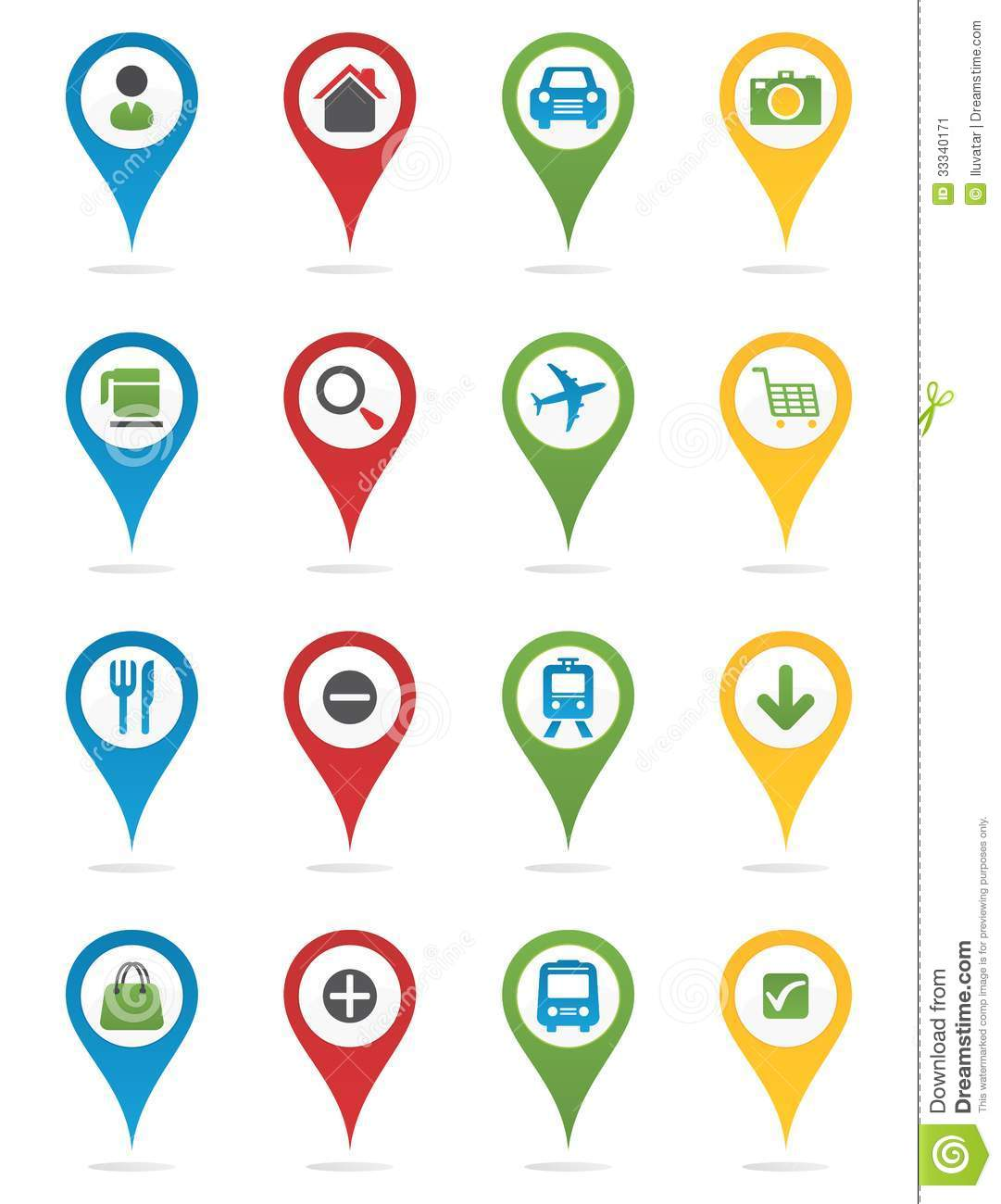 map pins with icons stock vector illustration of road 33340171
