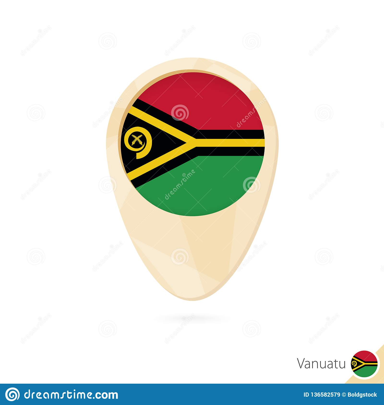 Map Pointer With Flag Of Vanuatu. Orange Abstract Map Icon ...
