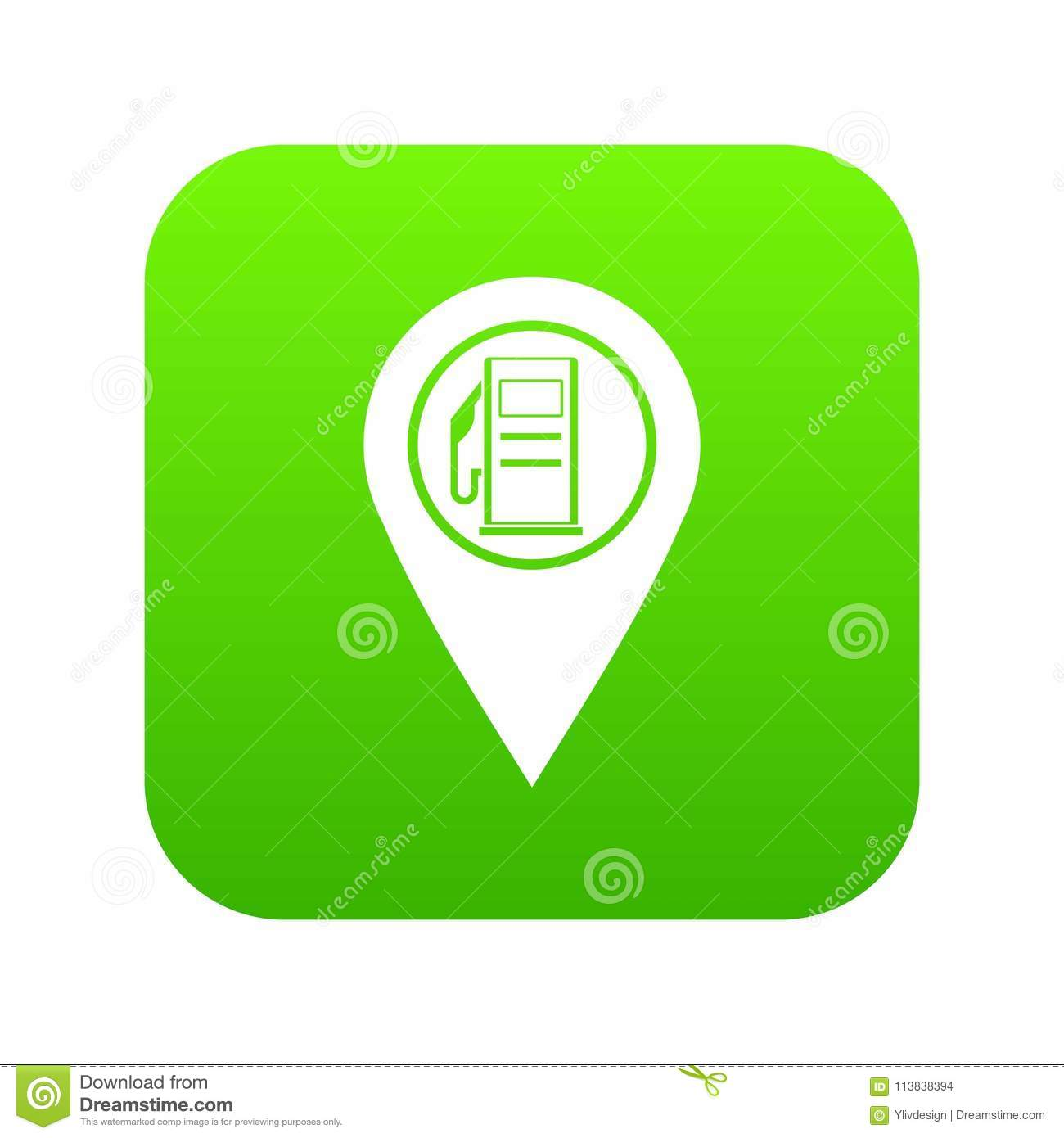 Map Pointer With Gas Station Symbol Icon Digital Green Stock Vector