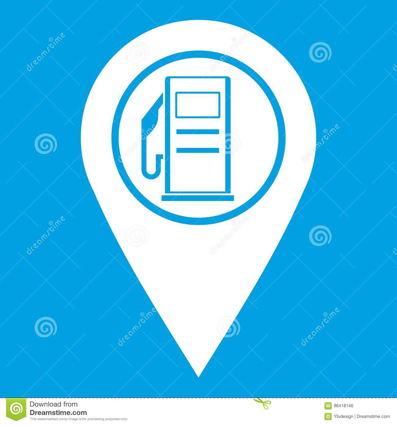 Map Pointer With Gas Station Symbol Icon White Stock Vector