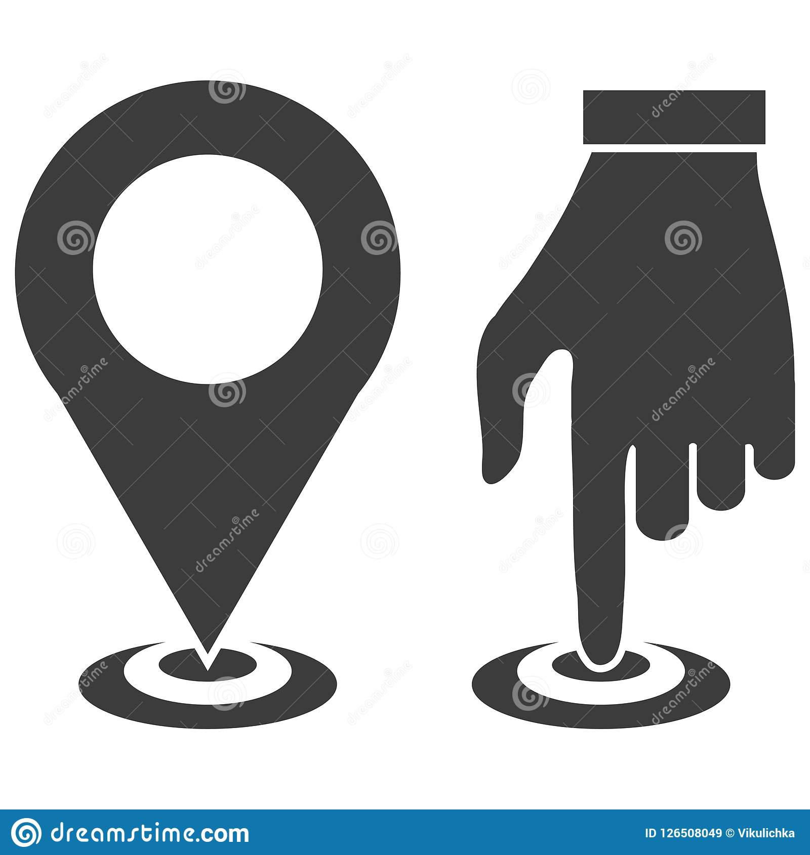 Map Pointer Icon, GPS Location Symbol, Map Pin Sign, Map