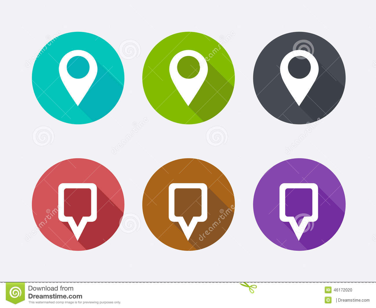 Free Google Maps Pointer Icon: Map Pointer Icon. Location Marker Symbol. Long Shadows