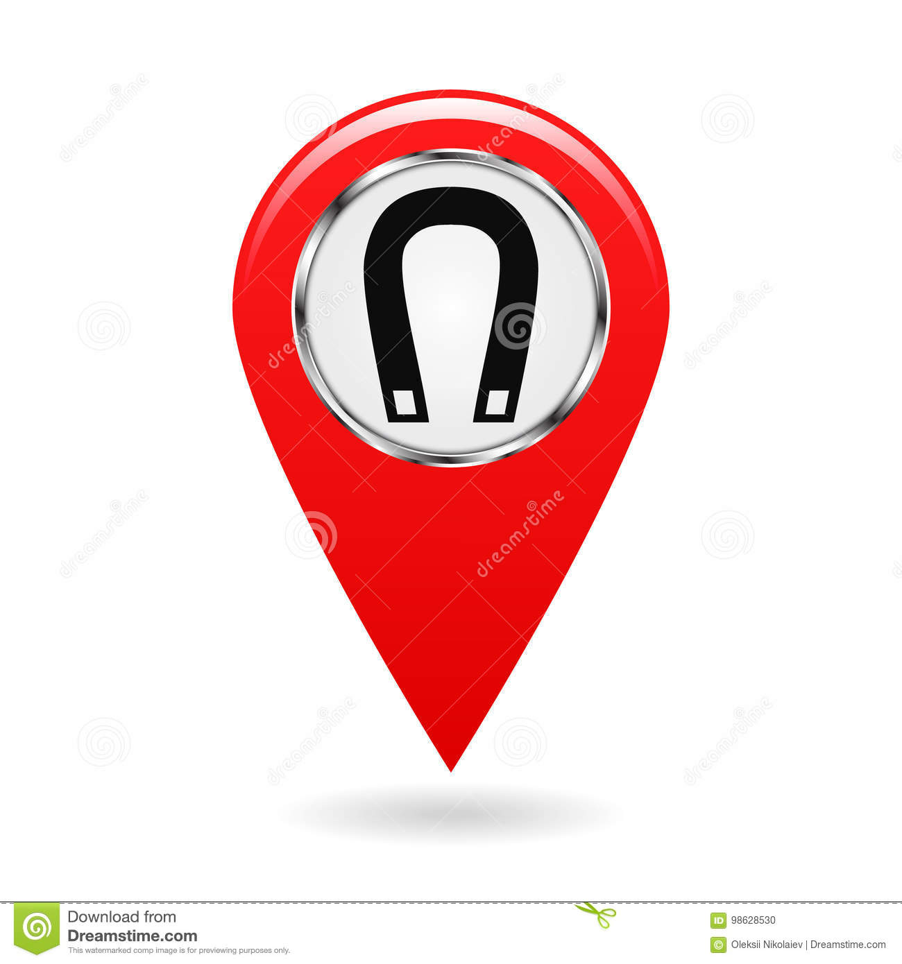 Map Pointer Index Magnetic Field Areas On The Map Safety Symbol