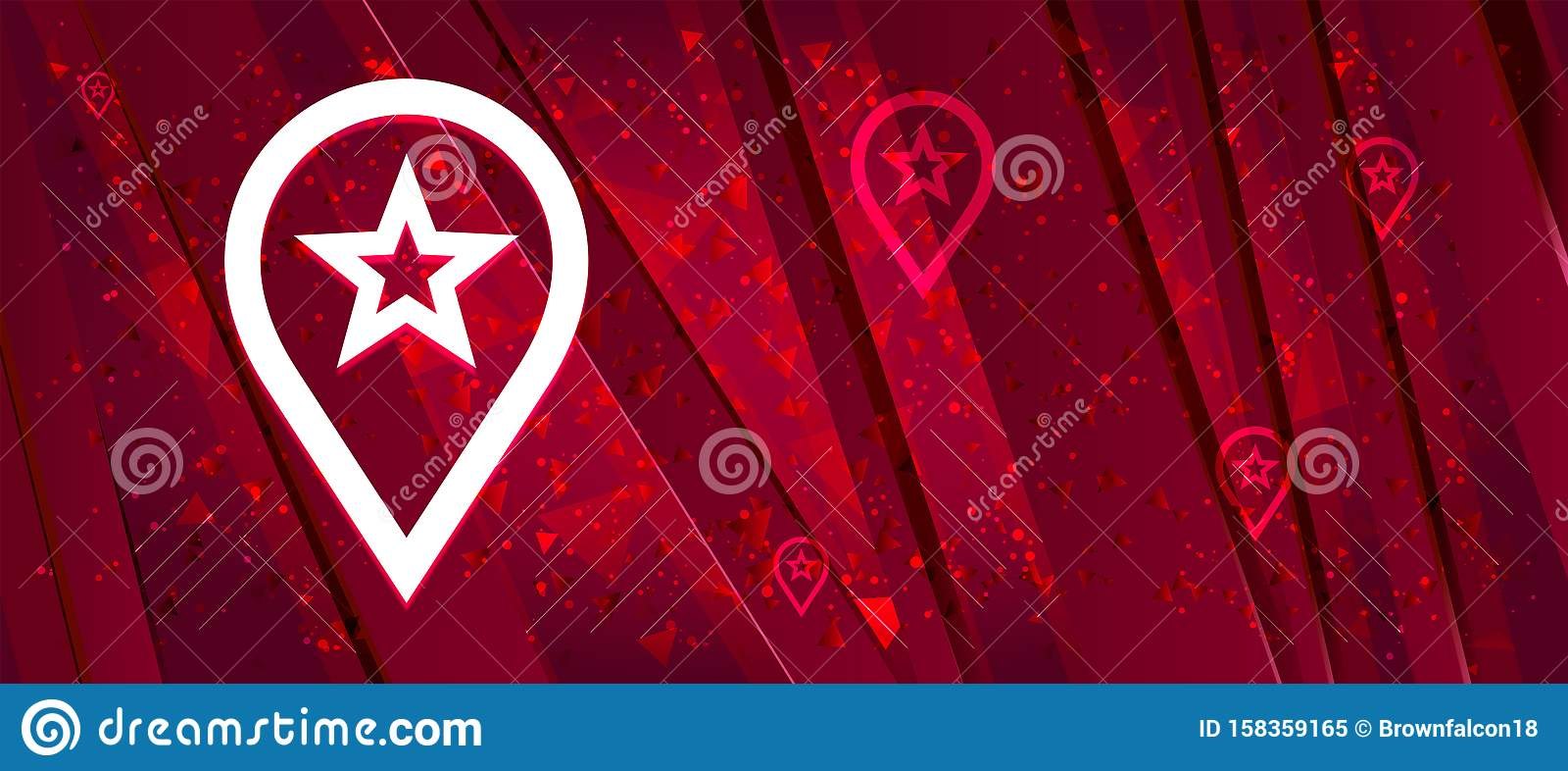 Map pointer star icon Abstract design bright red banner background