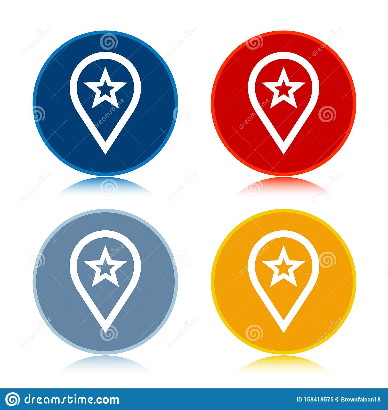 Map pointer star icon trendy flat round buttons set illustration design