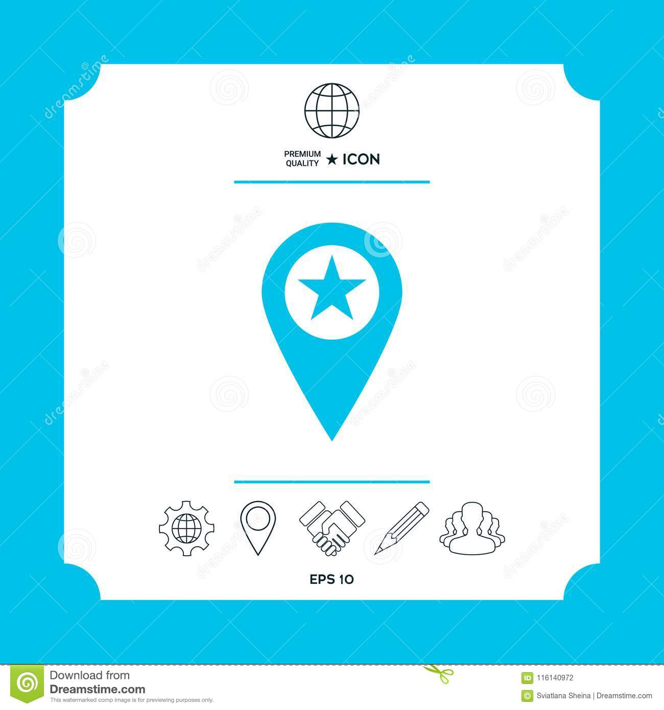 Map Pointer With Star Stock Vector Illustration Of Arranging