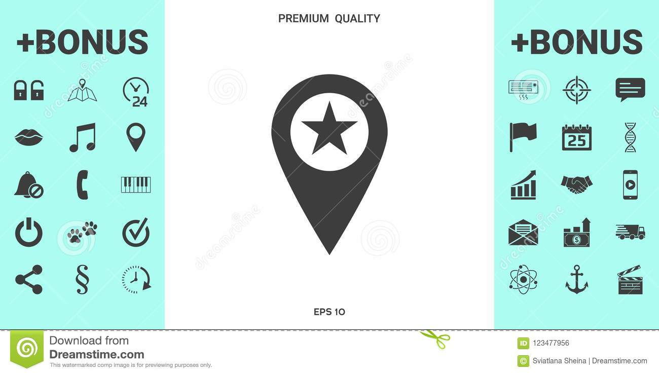 Map Pointer With Star Stock Vector Illustration Of Famous 123477956