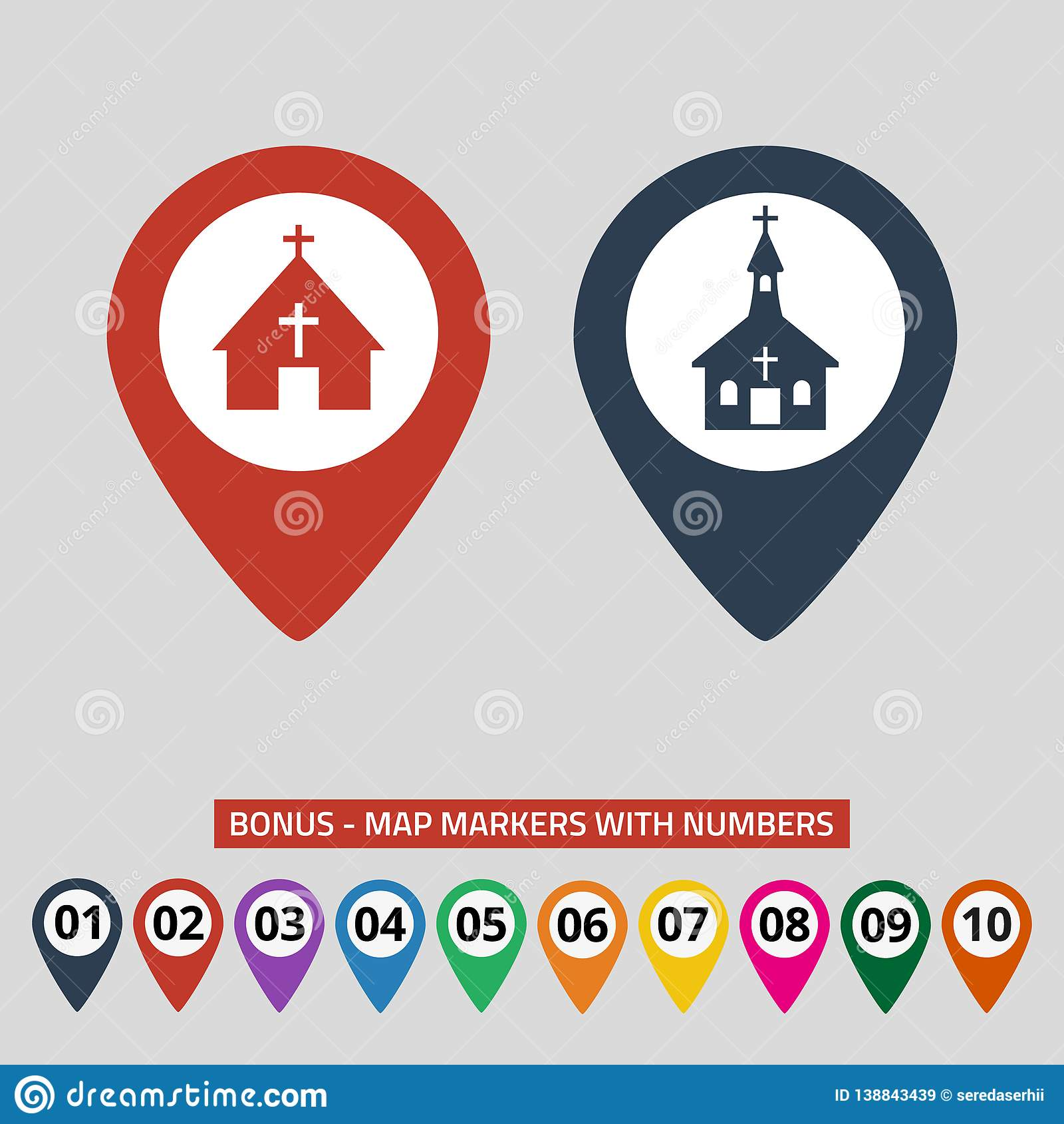 Map pointers with church icon on grey background