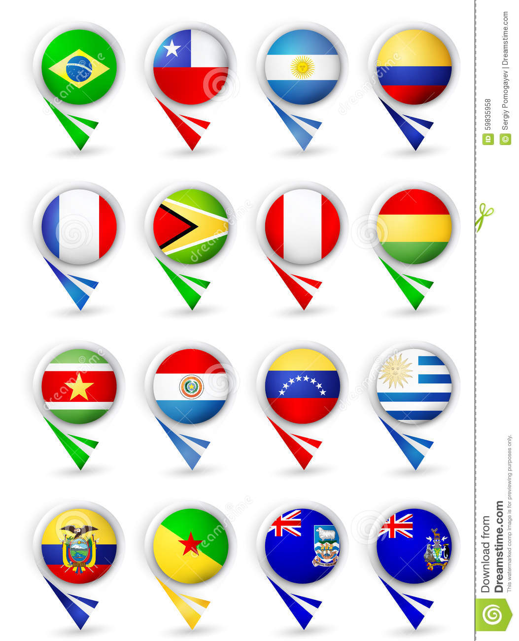 Map Pointers With Flags South America All Countries Stock Vector - South america map and flags