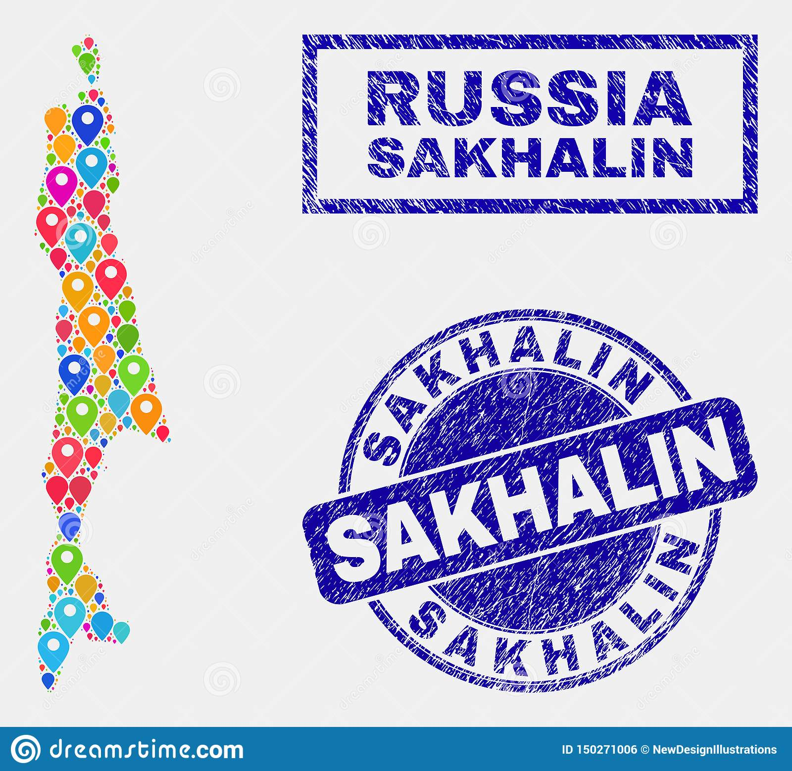 Map Pointers Mosaic Of Sakhalin Island Map And Textured ...