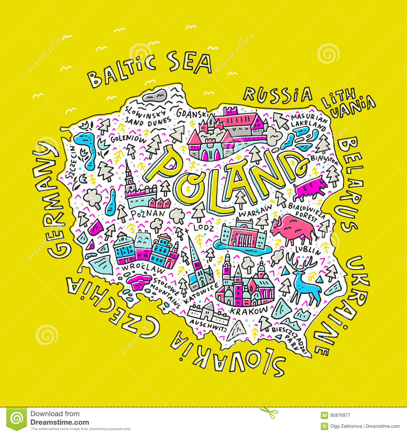 All map symbols images symbol and sign ideas map of poland stock vector image of cartoon geographic 95876977 map of poland buycottarizona buycottarizona