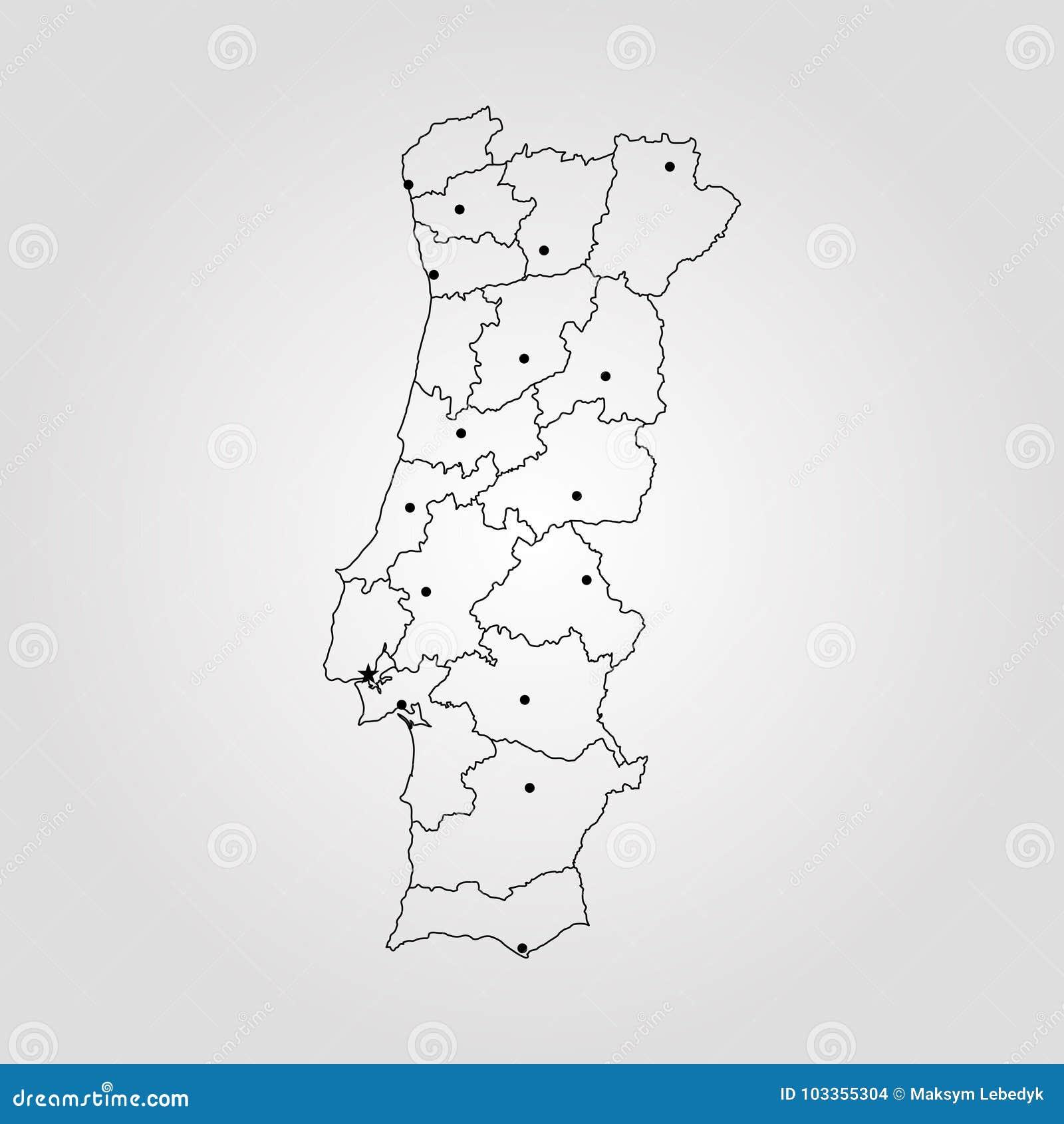 Map of Portugal stock illustration. Illustration of border - 103355304