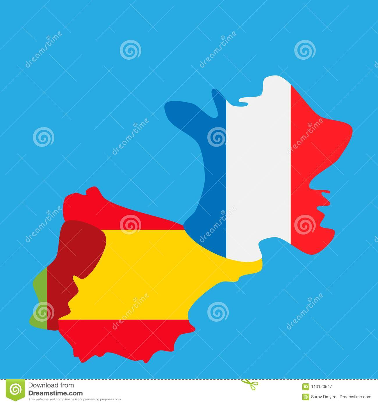 Map Of Spain And France And Portugal.Map Of Portugal Spain And France With National Flags Stock