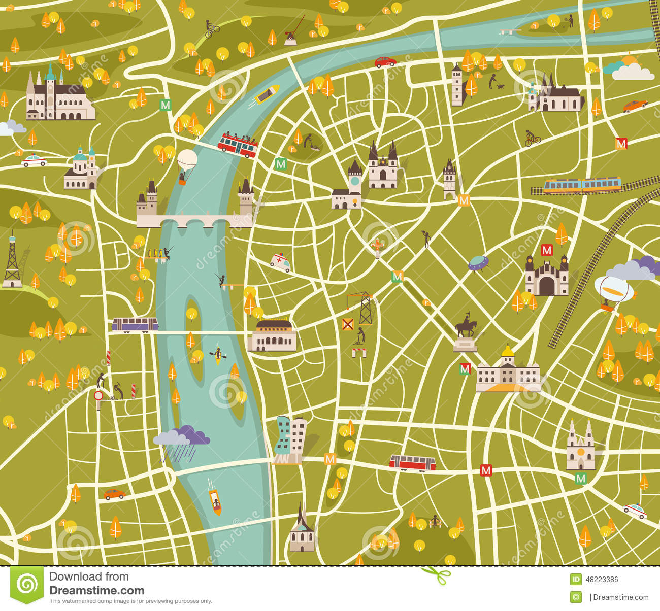 Http Thumbs Dreamstime Com Z Map Prague Vector Graphics City 48223386 Jpg Grafika