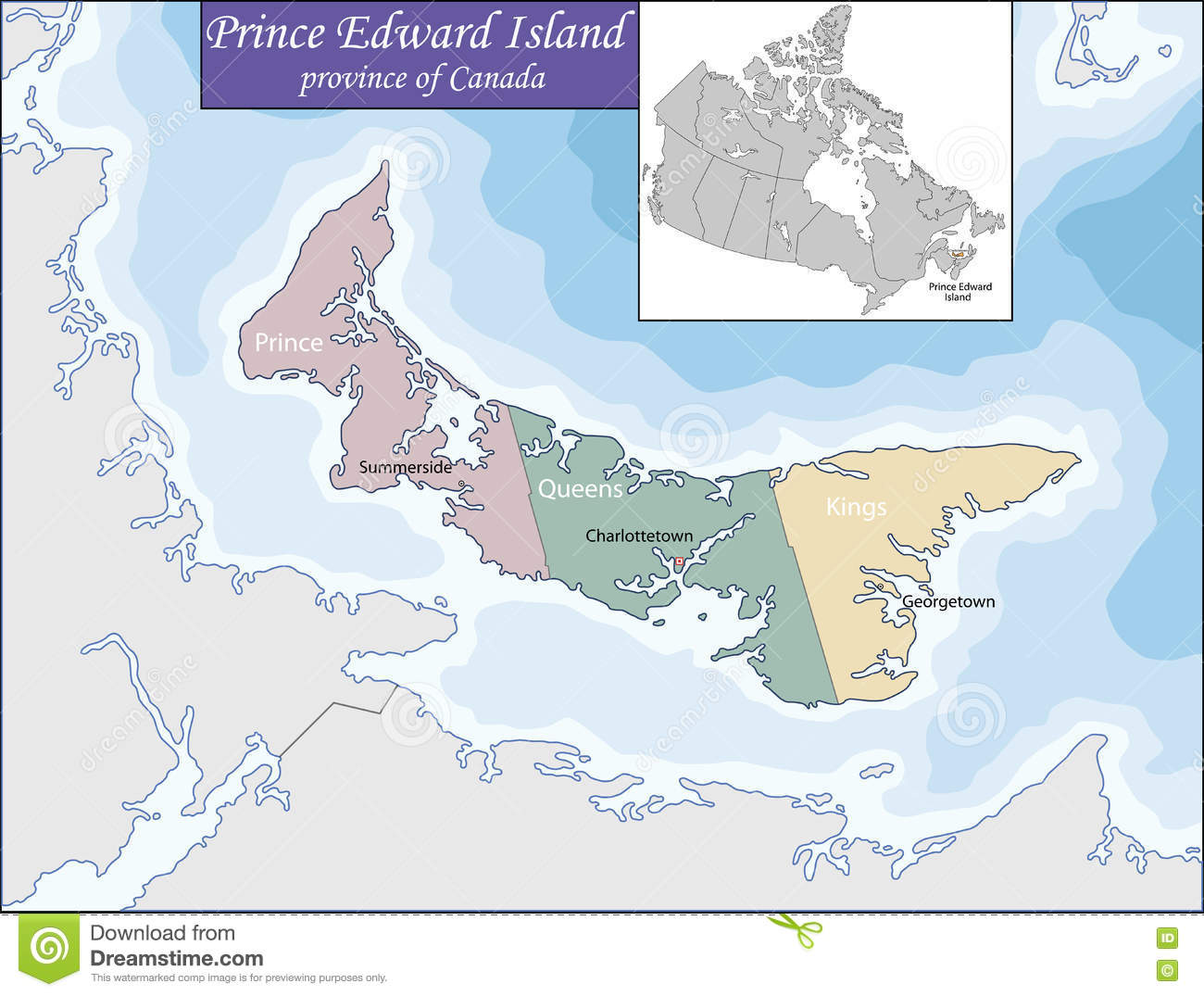 Islands Of Canada Map.Map Of Prince Edward Island Stock Vector Illustration Of