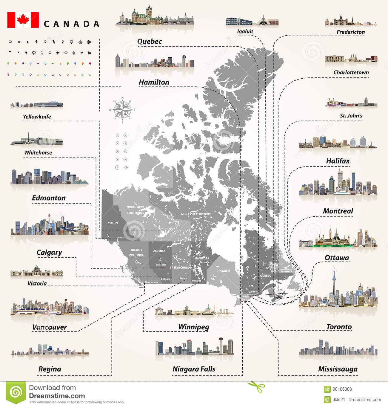 Provinces And Capitals Of Canada Map.Map Of Provinces And Territories Of Canada With Largest Cities And